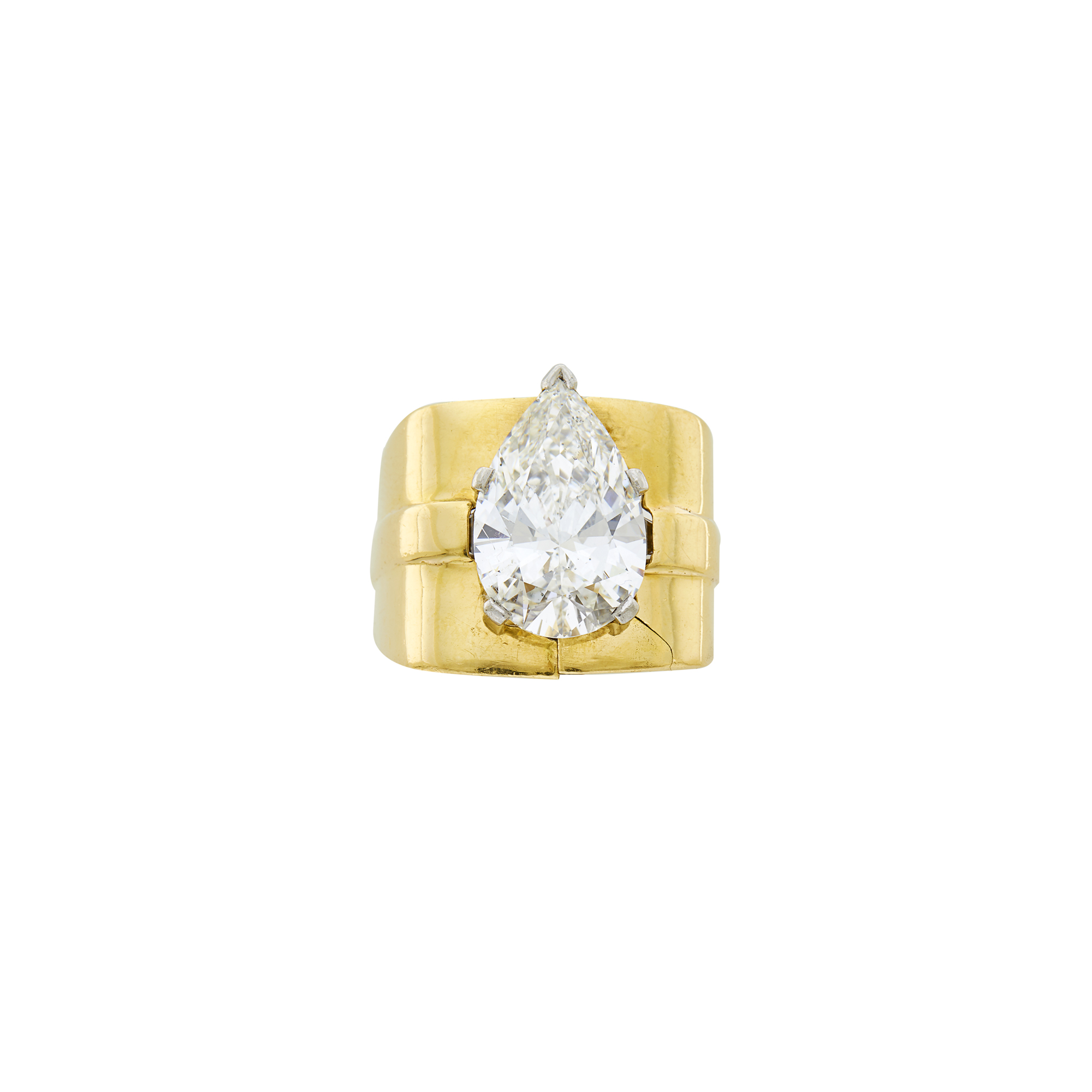 Lot image - Platinum and Diamond Ring with Gold Jacket