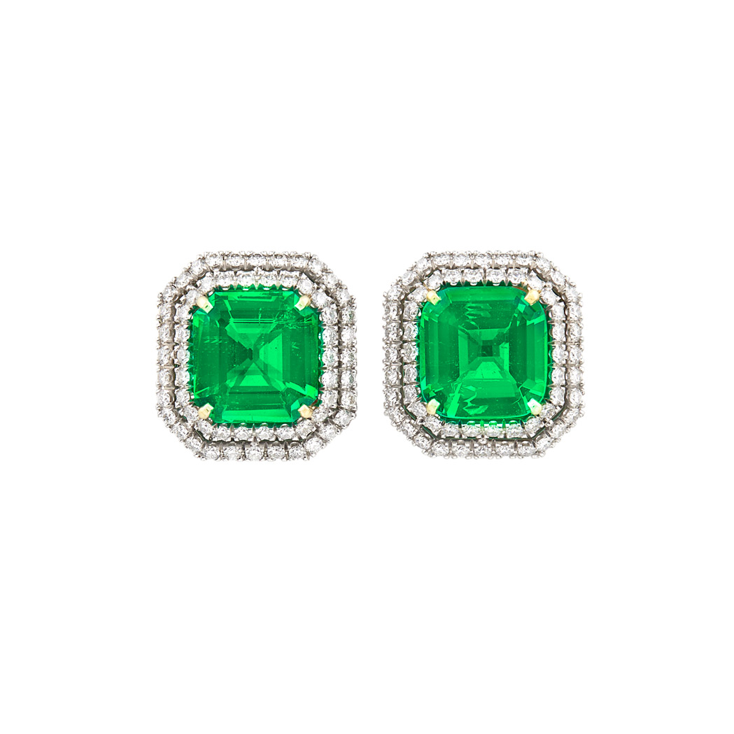 Lot image - Pair of White Gold, Emerald and Diamond Earrings