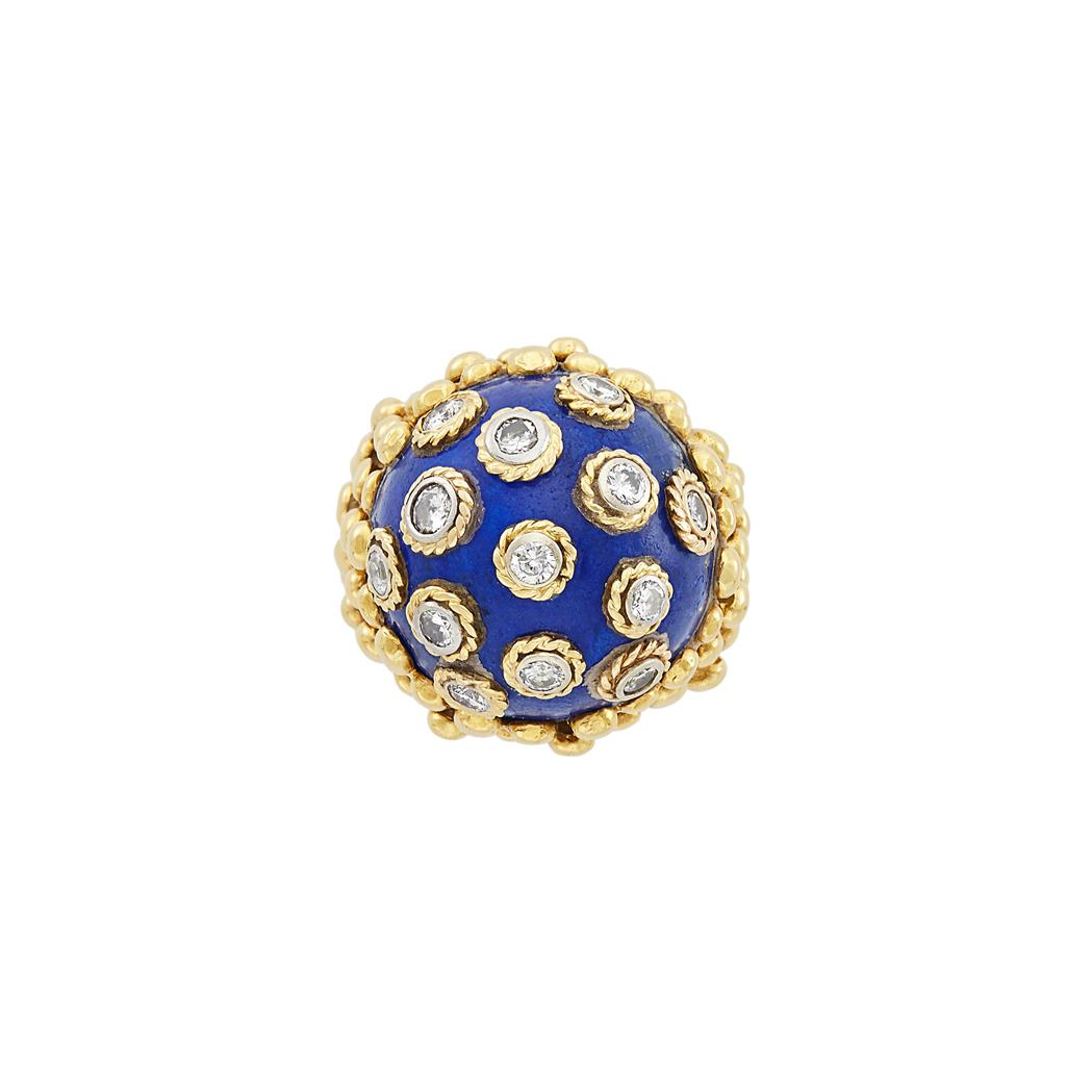 Lot image - Gold, Platinum, Lapis and Diamond Dome Ring, David Webb