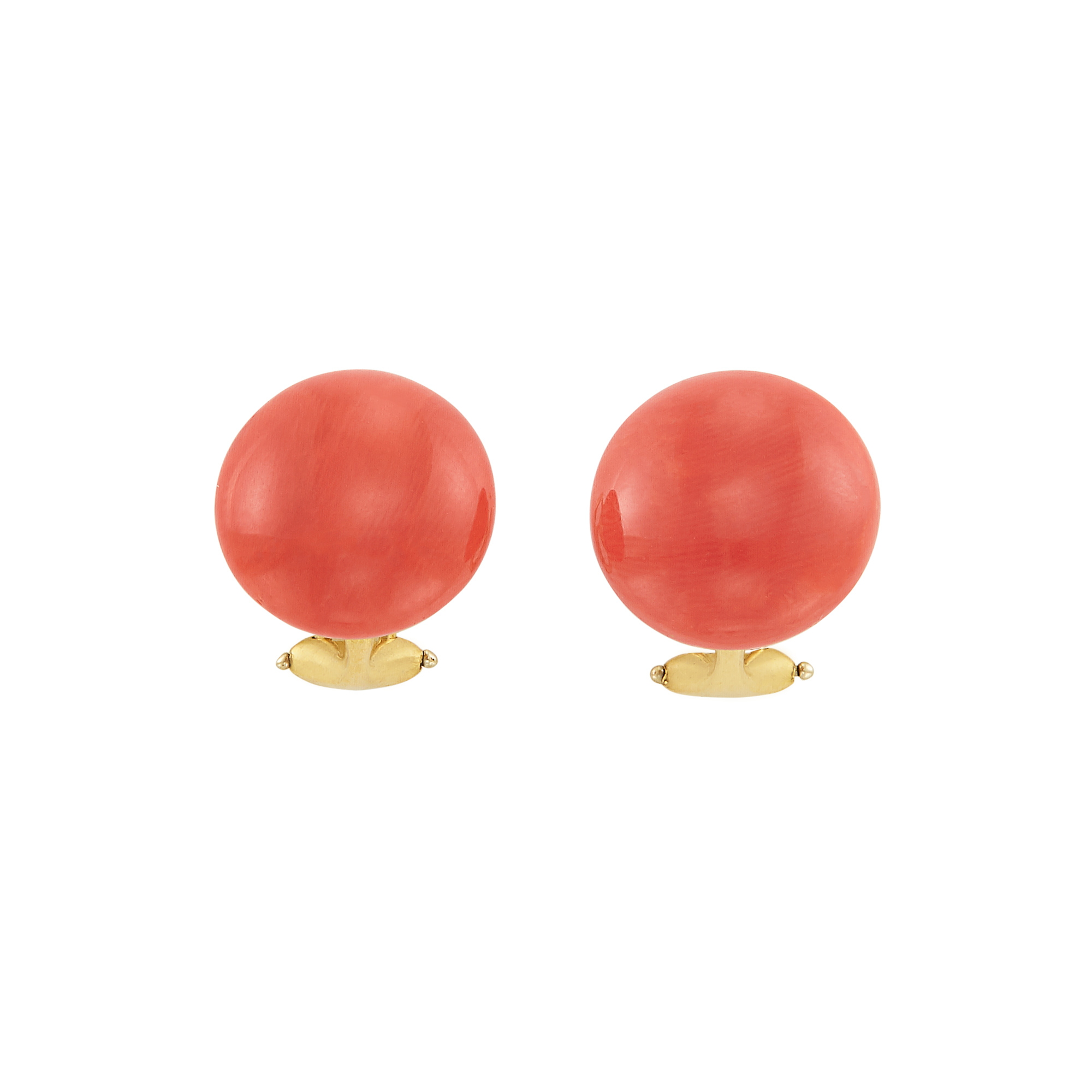 Lot image - Pair of Gold and Coral Earrings, Linda Lee Johnson