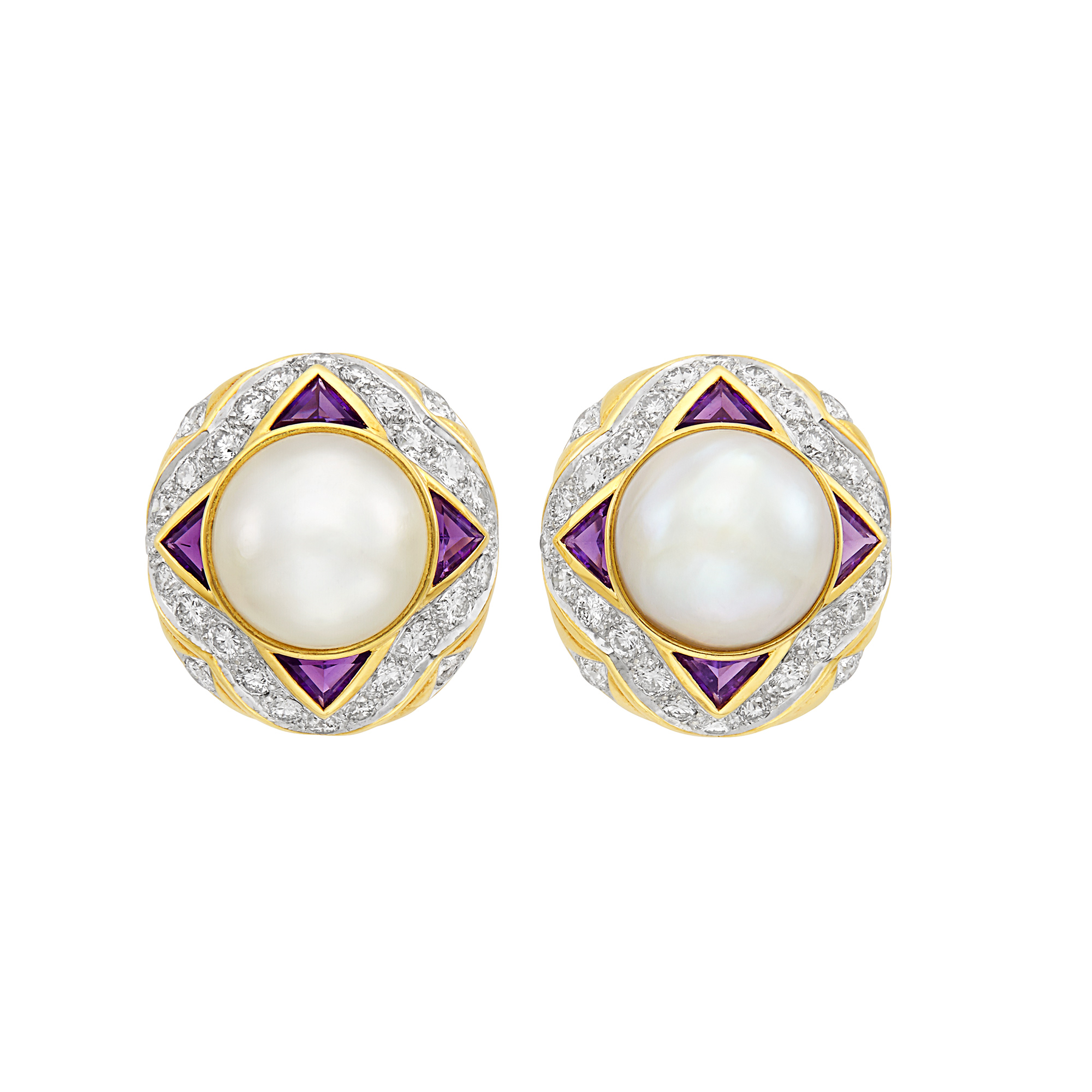 Lot image - Pair of Two-Color Gold, Mabé Pearl, Amethyst and Diamond Earclips