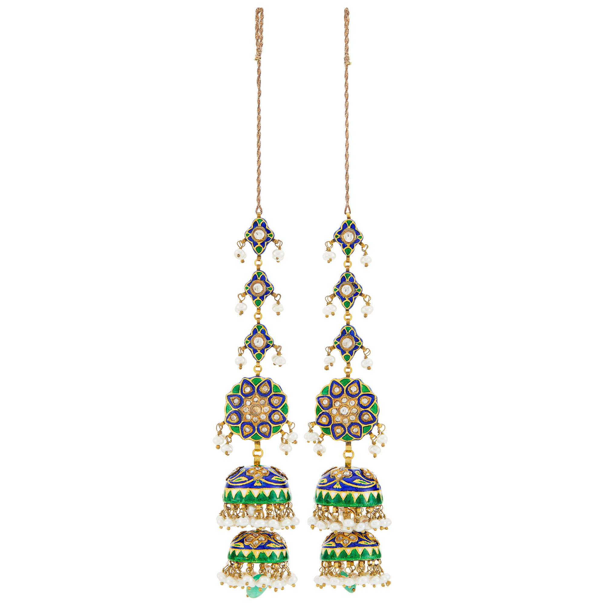 Lot image - Pair of Indian Gold, Freshwater Pearl, Jaipur Enamel, Emerald Bead and Foil-Backed White Sapphire Pendant-Earrings