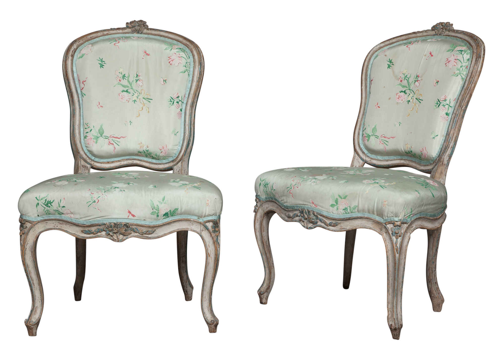Lot image - Pair of Louis XV Painted Chaises en Cabriolet