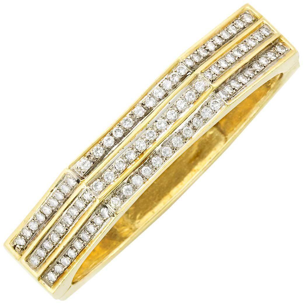 Lot image - Gold and Diamond Bangle Bracelet, Cartier
