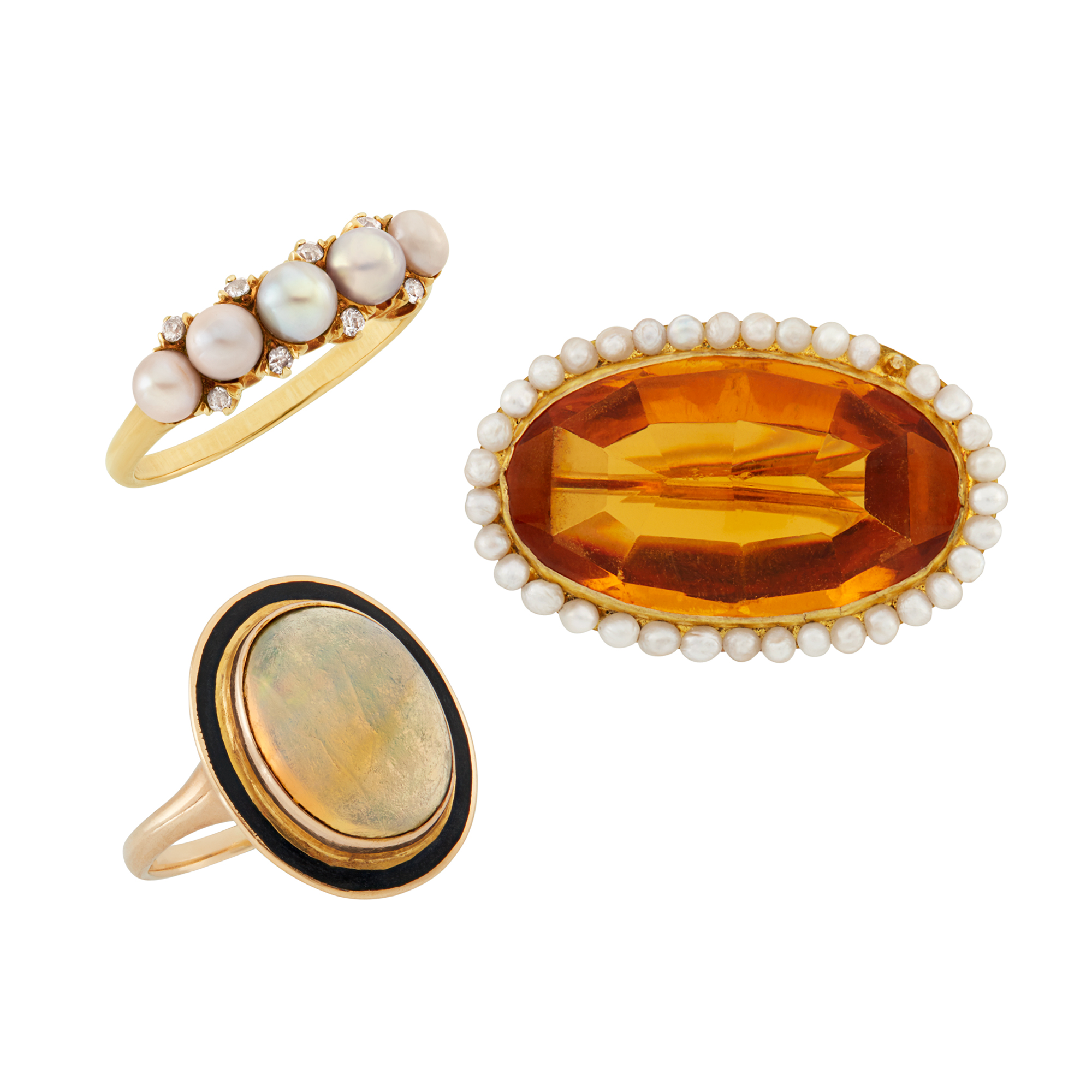Lot image - Group of Gem-Set Brooch and Two Rings