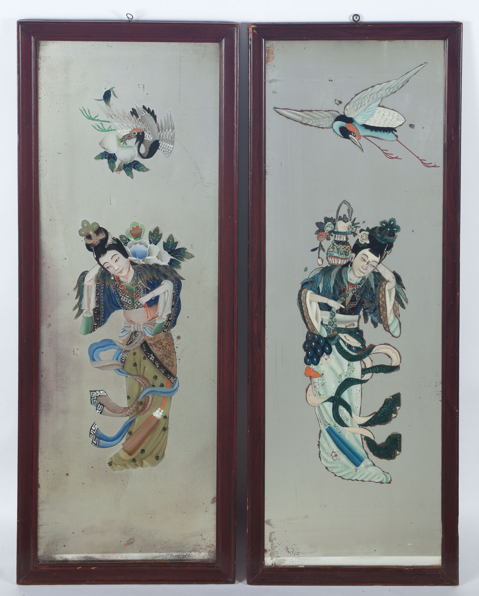 Lot image - Pair of Chinese Églomisé Mirrored Panels