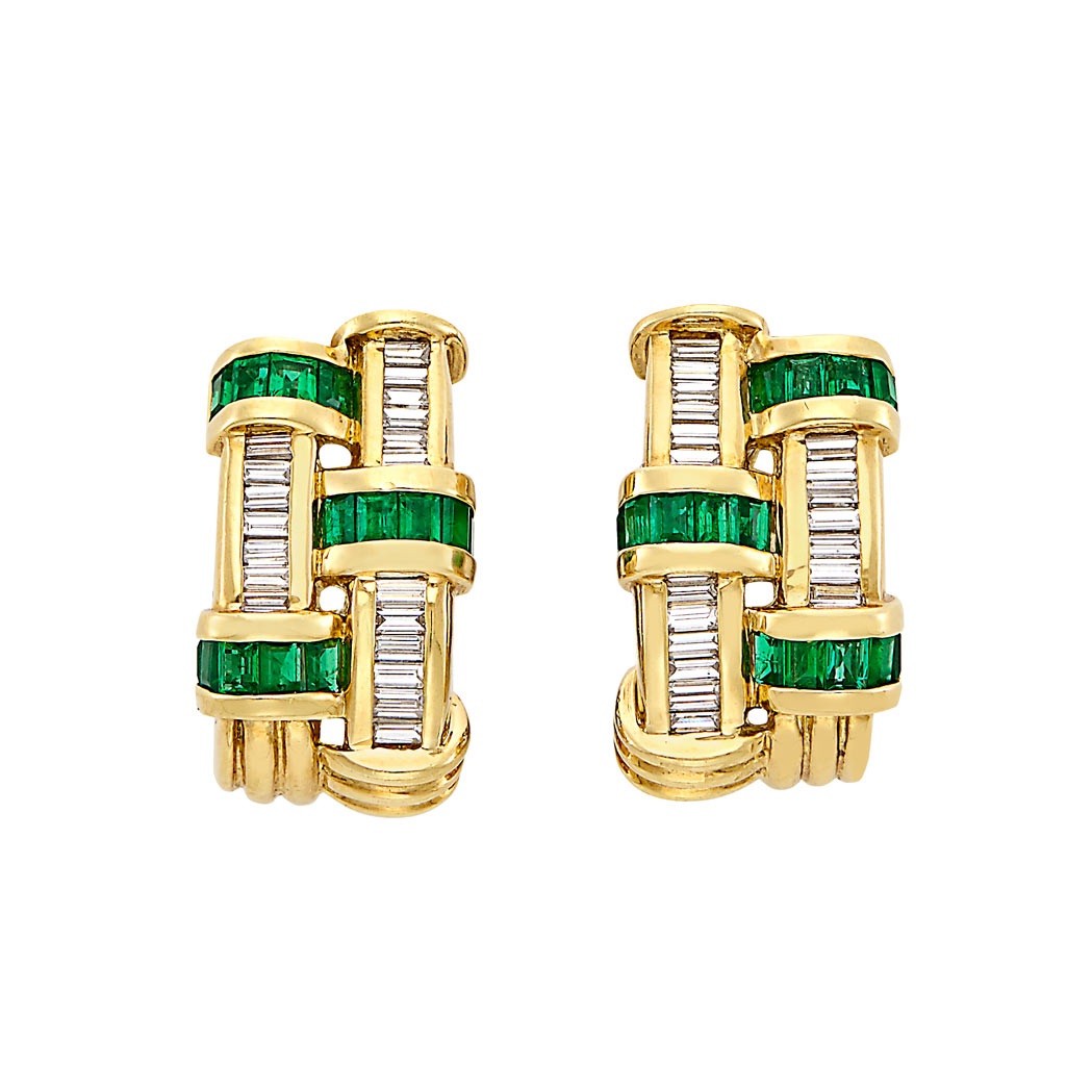 Lot image - Pair of Gold, Emerald and Diamond Earclips, Charles Krypell