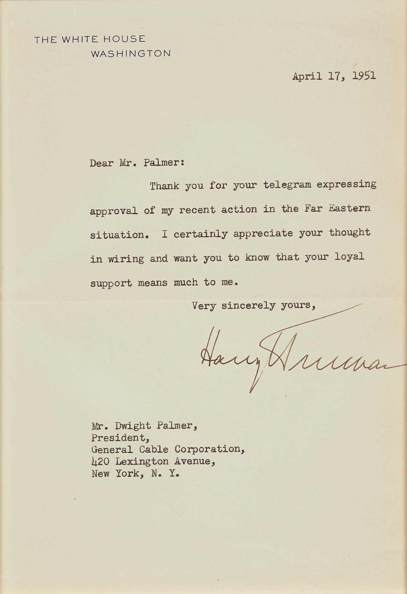 Lot image - TRUMAN, HARRY  Typed letter signed as President.
