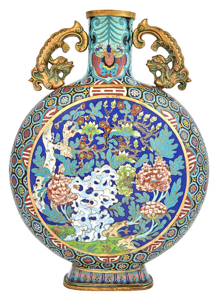 Lot image - Chinese Cloisonné Enamel Moon Flask