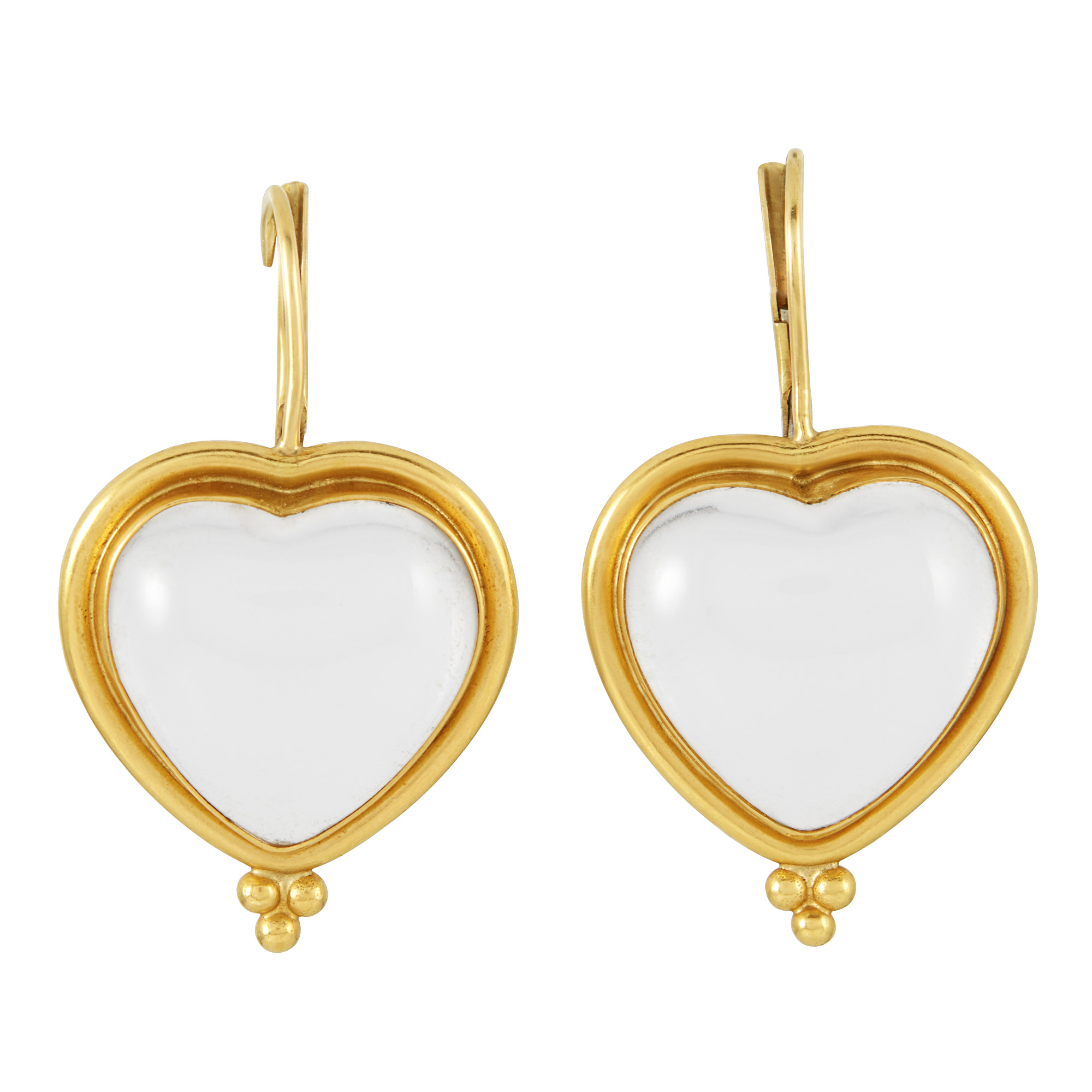 Lot image - Pair of High Karat Gold and Rock Crystal Heart Pendant Earrings, Temple St. Clair