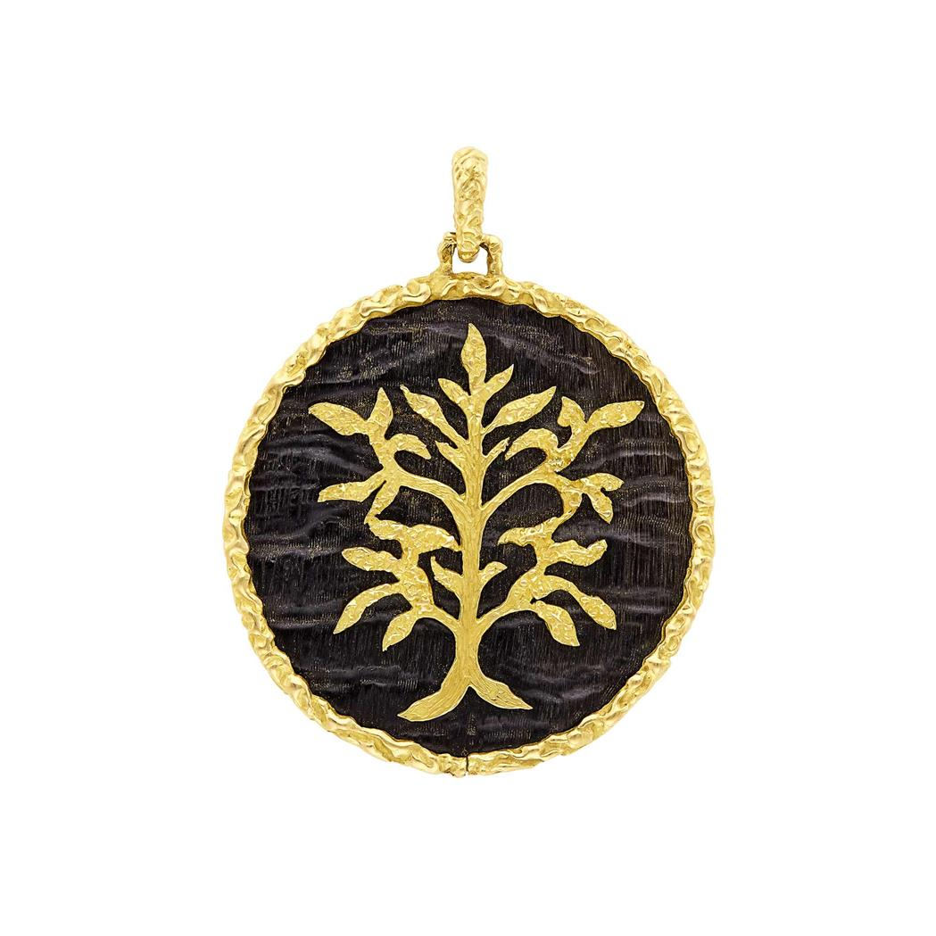 Lot image - Gold and Horn Tree of Life Pendant, Chaumet, Paris