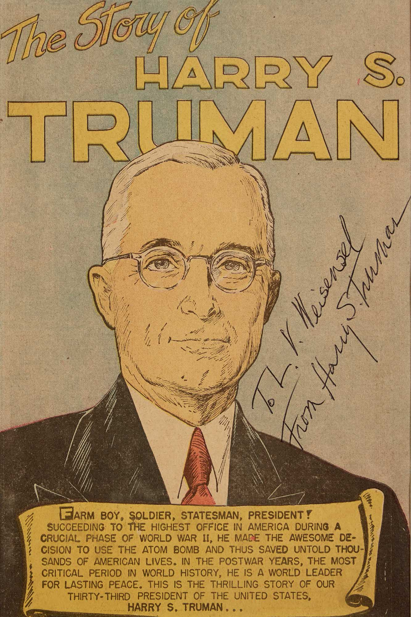 Lot image - TRUMAN, HARRY  Signature on campaign comic book The Story of Harry S. Truman.