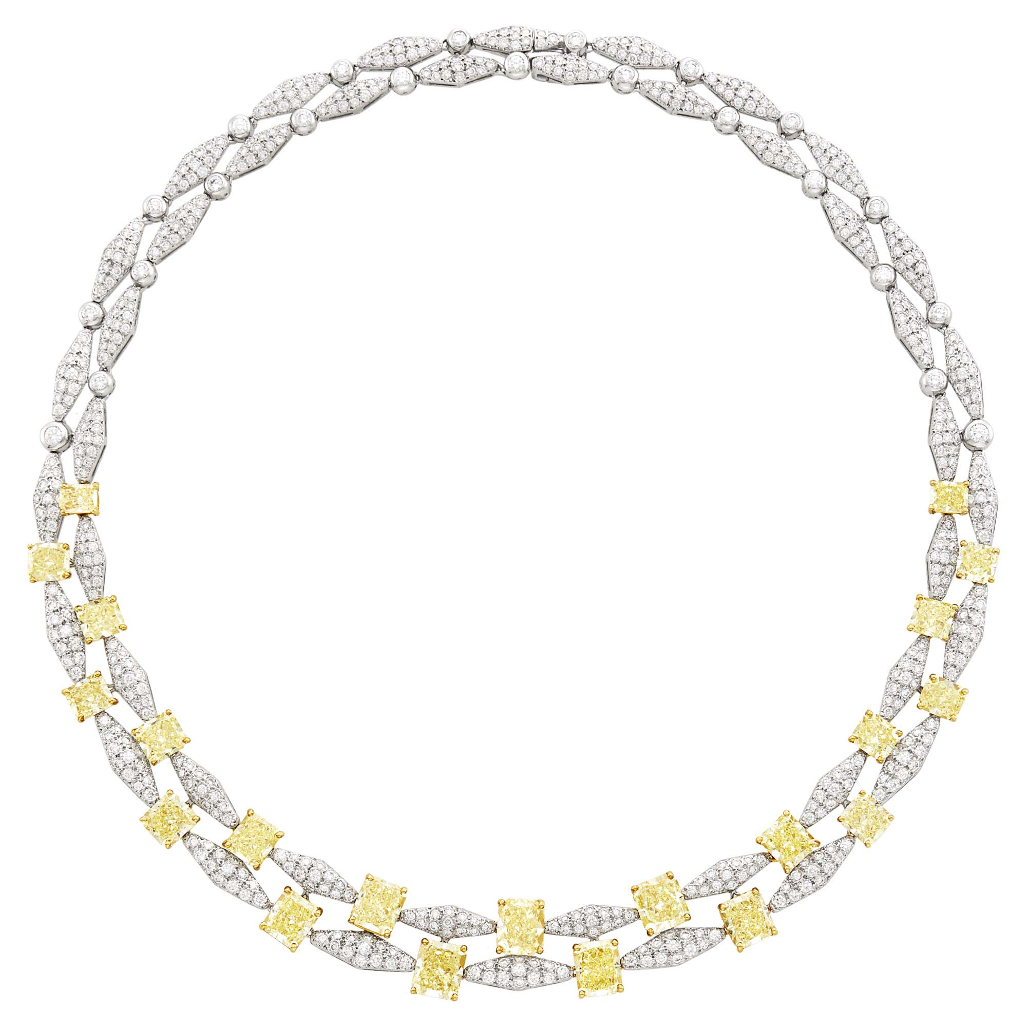 Lot image - Graff Platinum, Gold, Colored Diamond and Diamond Necklace