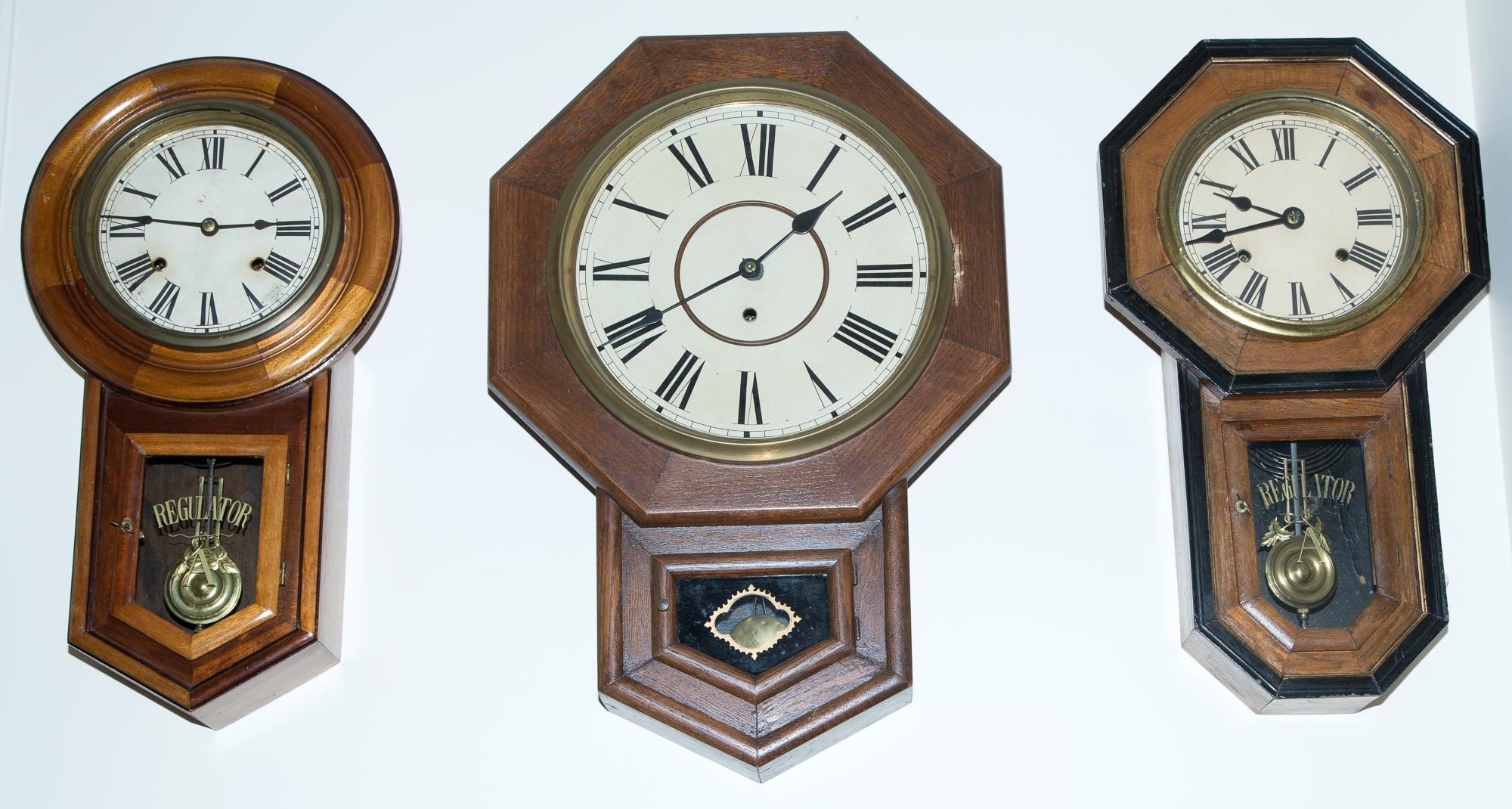 Lot image - Three Oak or Walnut Wall Clocks