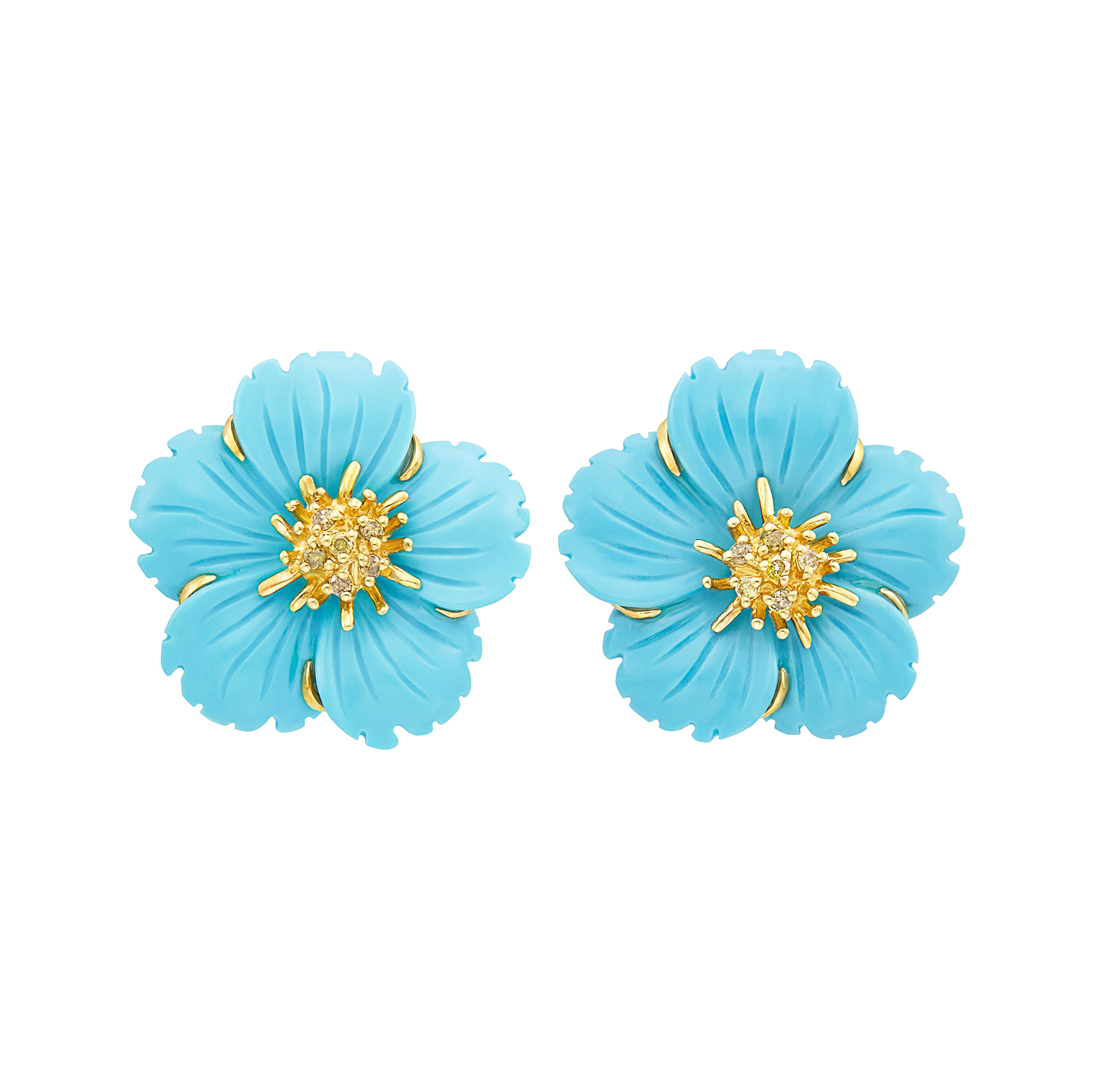 Lot image - Pair of Gold, Carved Turquoise and Yellow Diamond Flower Earclips