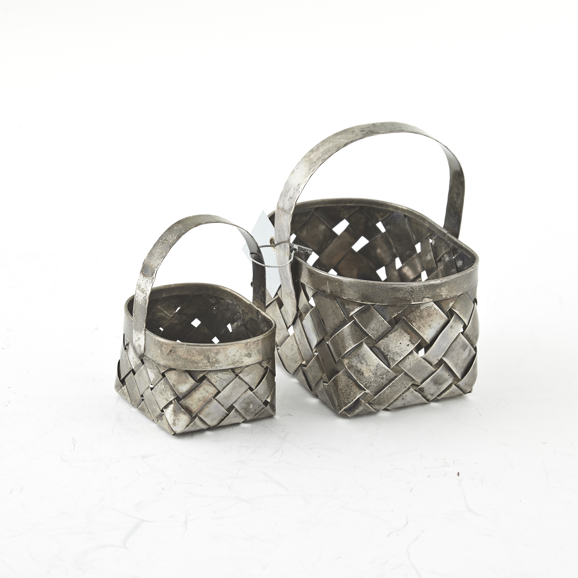 Lot image - 2 Silver Baskets, 6 ozs., Cartier