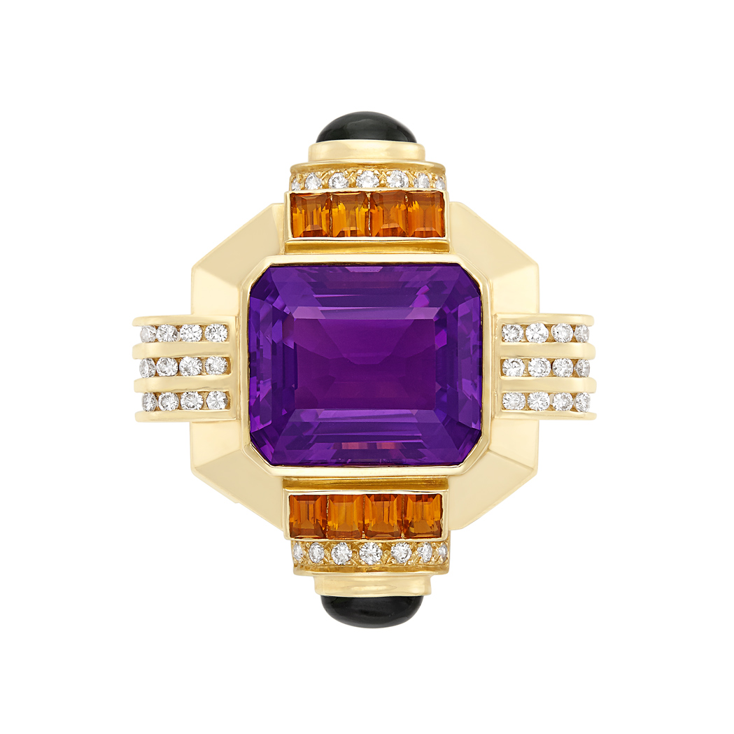 Lot image - Gold, Amethyst, Diamond, Citrine and Cabochon Tourmaline Clip-Brooch
