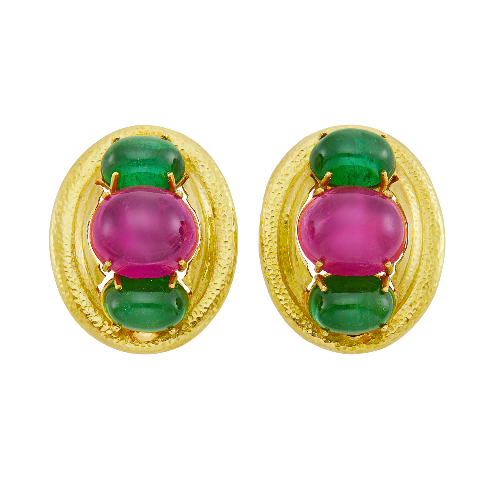 Lot image - Pair of Hammered Gold and Cabochon Pink and Green Tourmaline Earclips