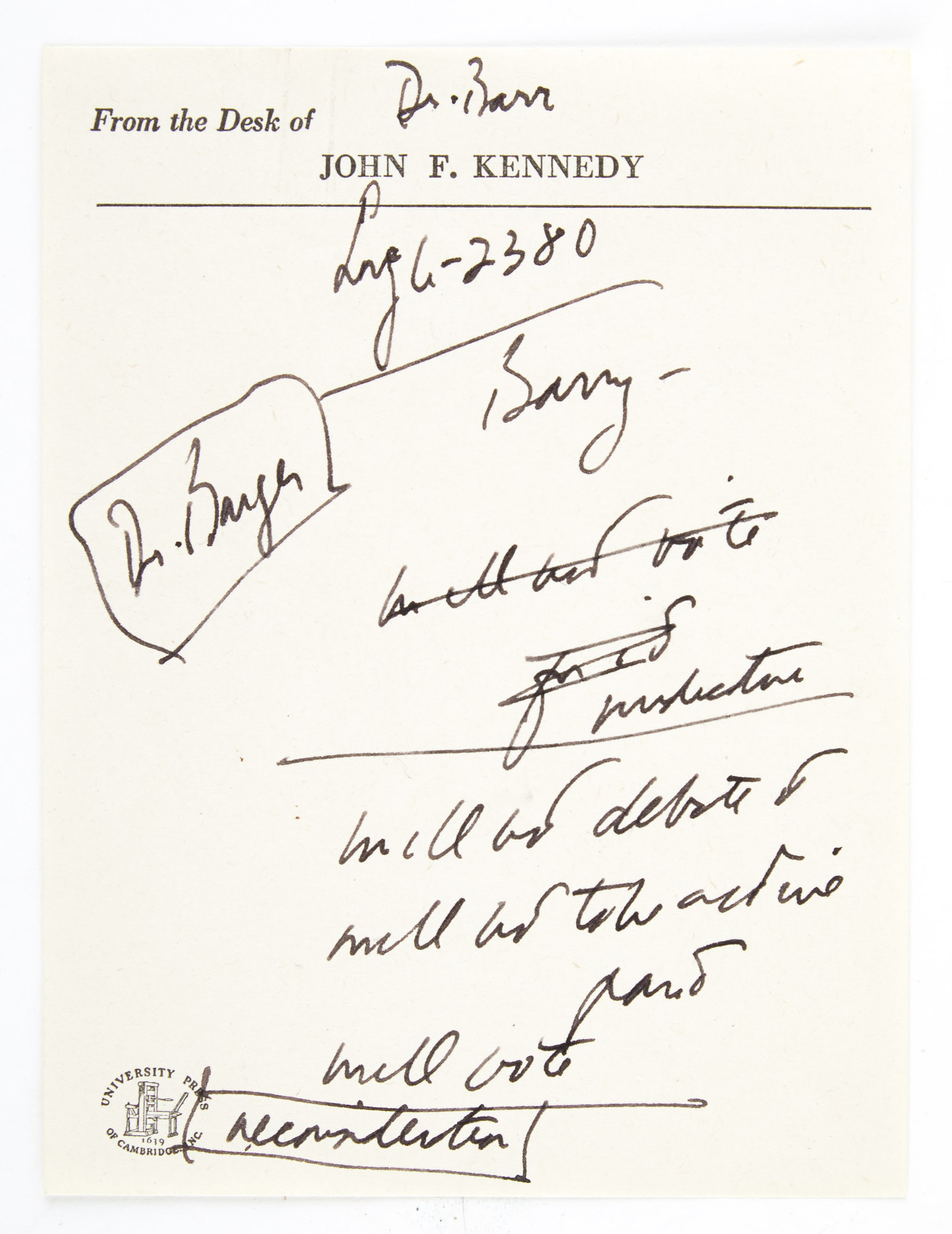 Lot image - KENNEDY, JOHN FITZGERALD  Manuscript sheet of  notes on Kennedys stationery.