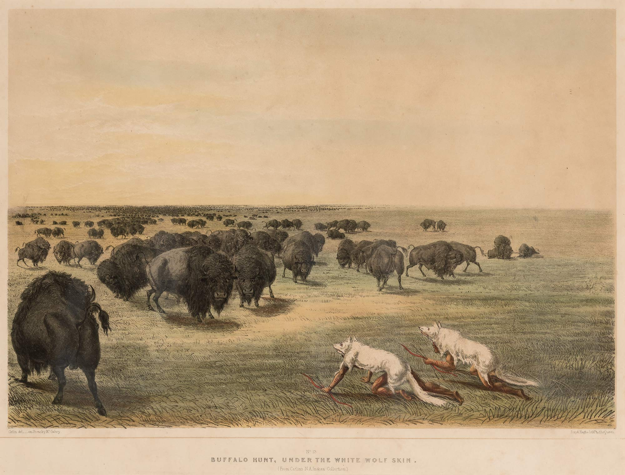 Lot image - CATLIN, GEORGE  No. 15. Buffalo Hunt, under the White Wolf Skin.