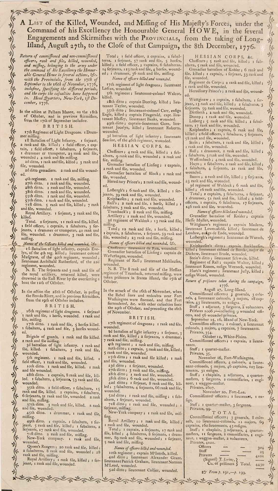 Lot image - [AMERICAN REVOLUTION]  Printed broadsheet listing British casualties at the Battle of Long Island with similar lists of casualties at Lexington and Concord and Bunker Hill.