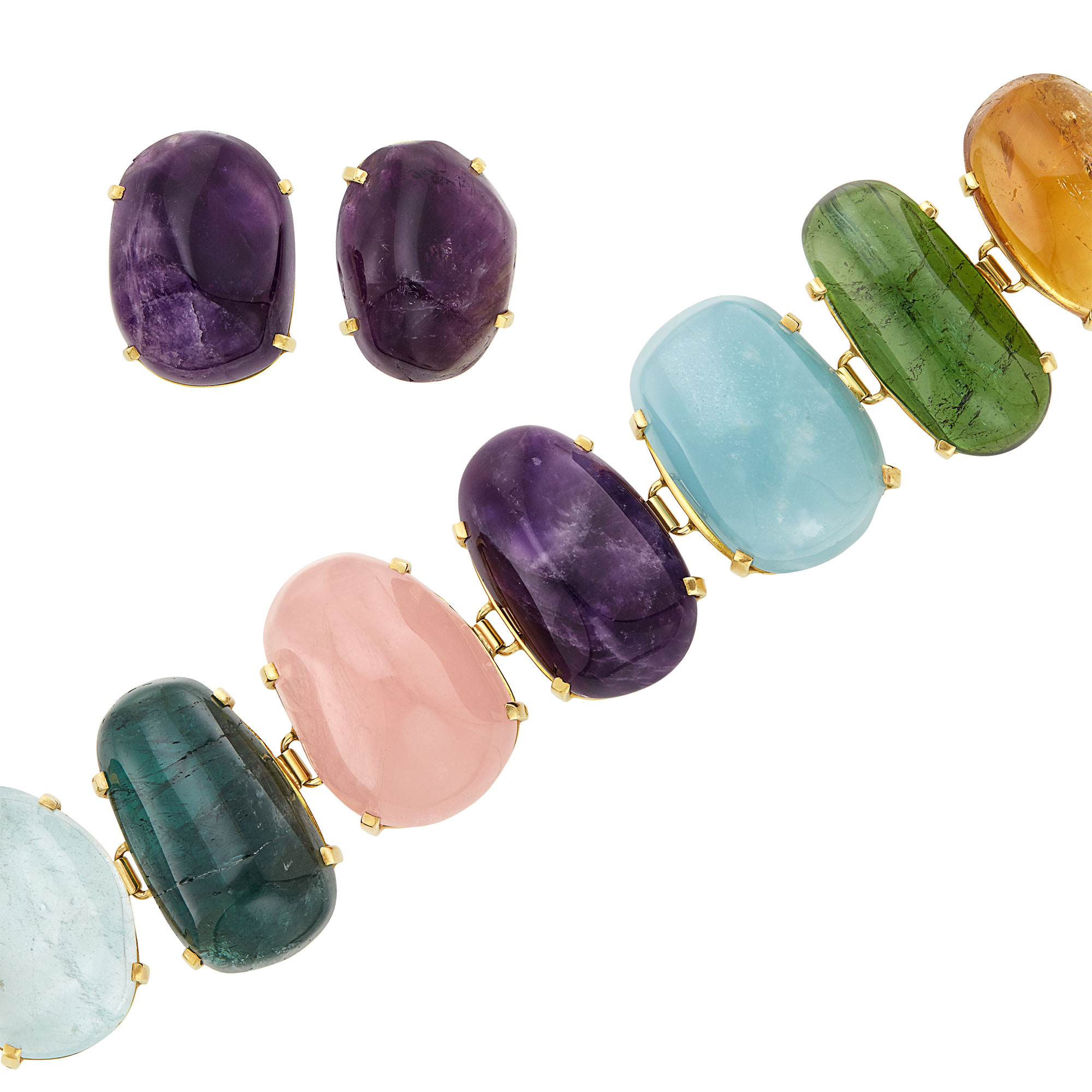 Lot image - Gold and Cabochon Colored Stone Bracelet and Pair of Cabochon Amethyst Earclips