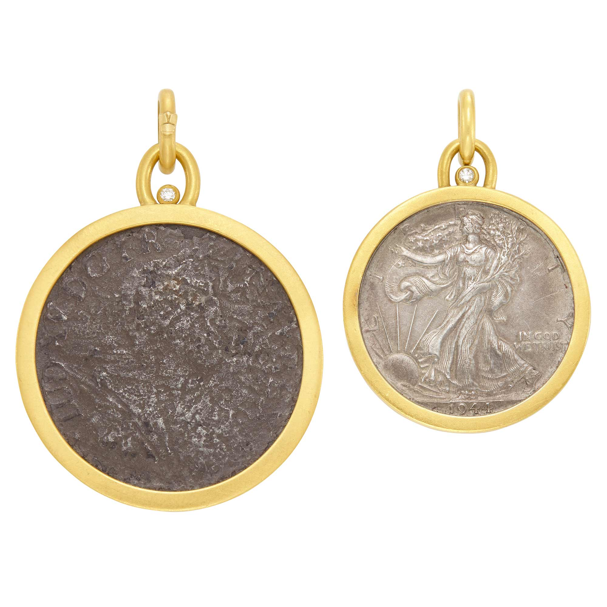 Lot image - High Karat Gold, Diamond and Ancient Coin Pendant and High Karat Gold, Diamond and United States Liberty Coin Pendant, by Linda Lee Johnson