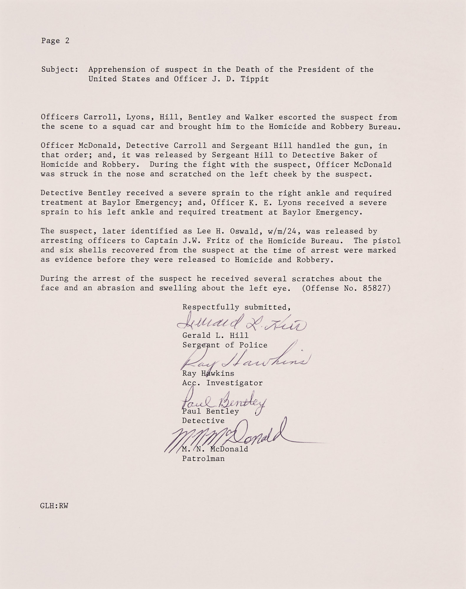 Lot image - [KENNEDY ASSASSINATION]  Signed copy of the 1963 attestation of Oswalds captors.