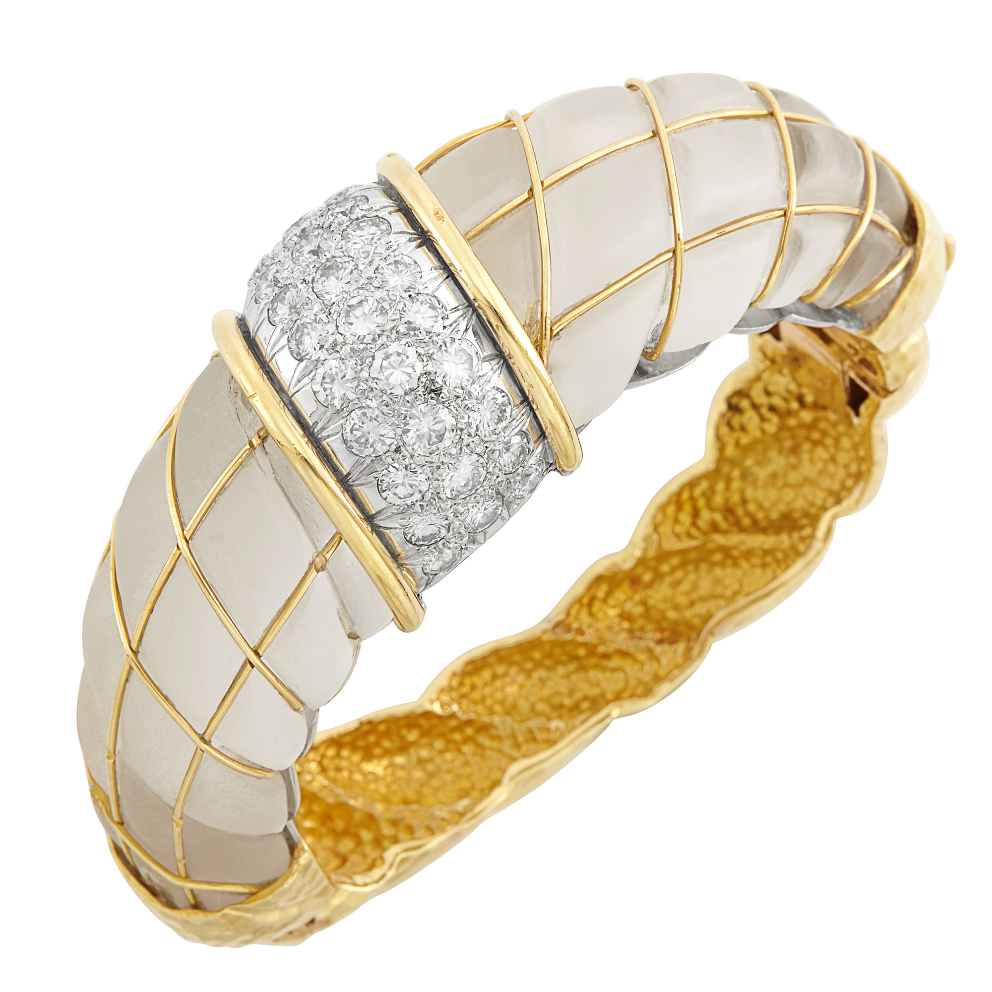 Lot image - Two-Color Gold, Frosted Rock Crystal and Diamond Bombé Bangle Bracelet