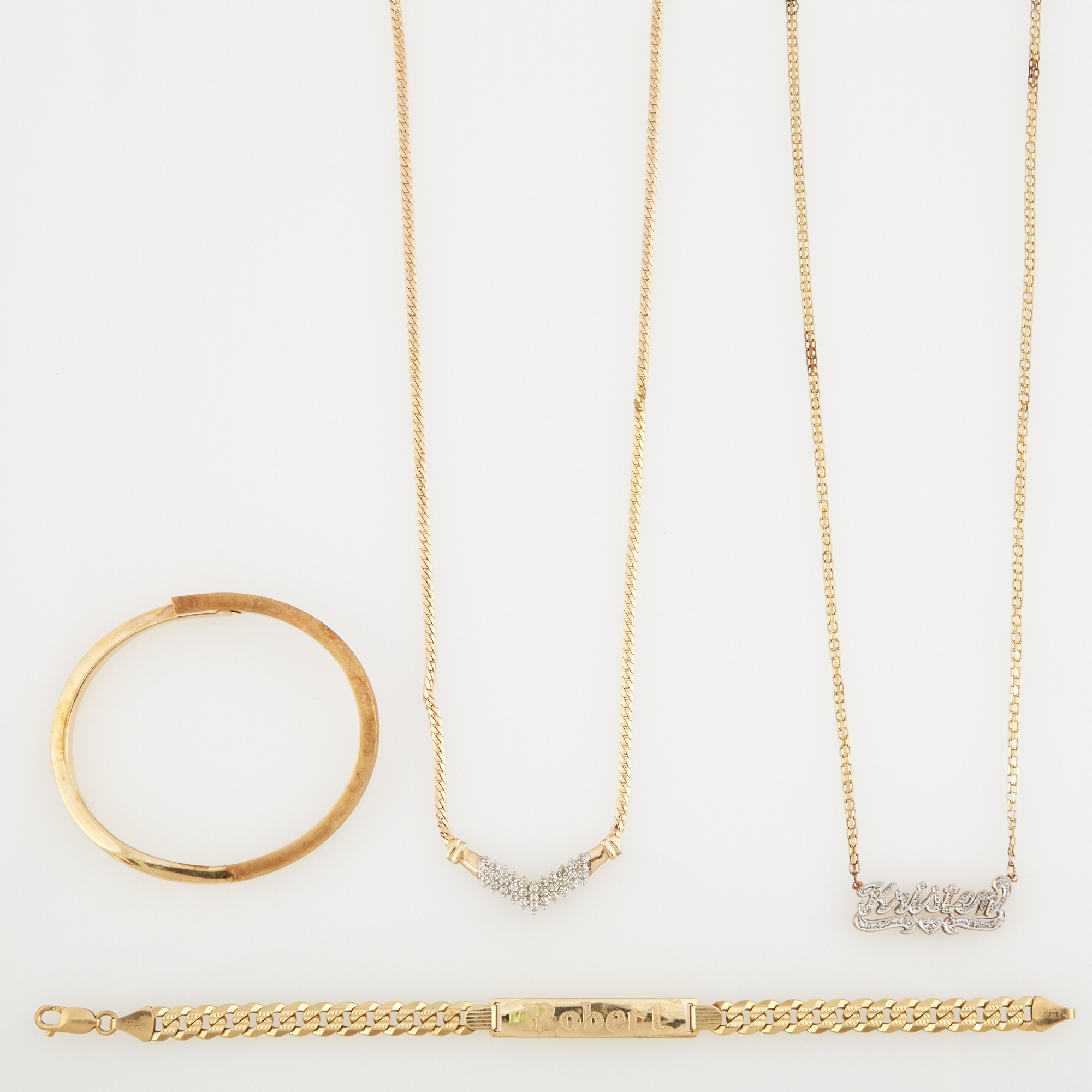 Lot image - Diamond Necklace, Name Plate and Two Gold Bracelets, 14K 26 dwt.
