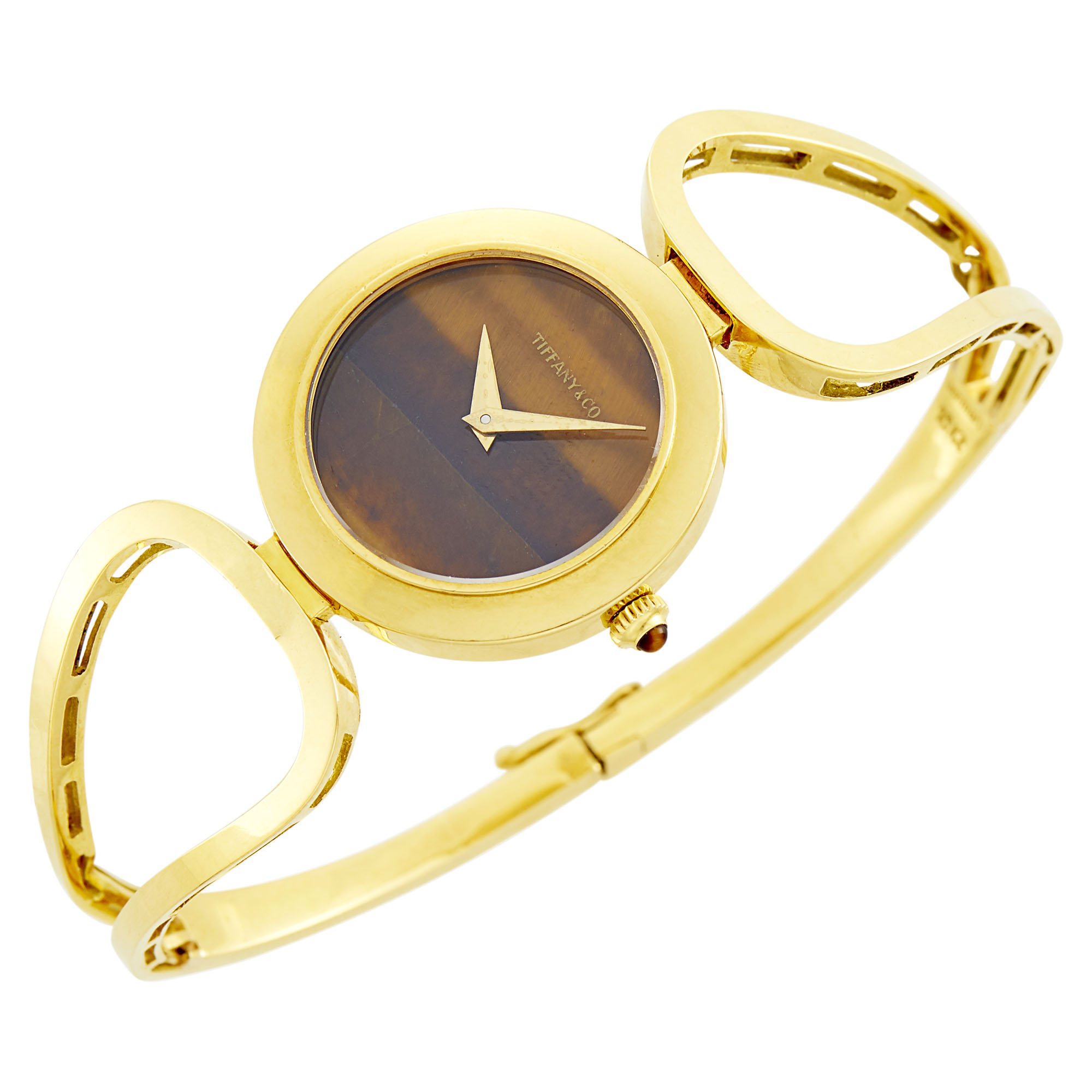 Lot image - Chopard Gold and Tigers Eye Bangle-Watch, Retailed by Tiffany & Co.