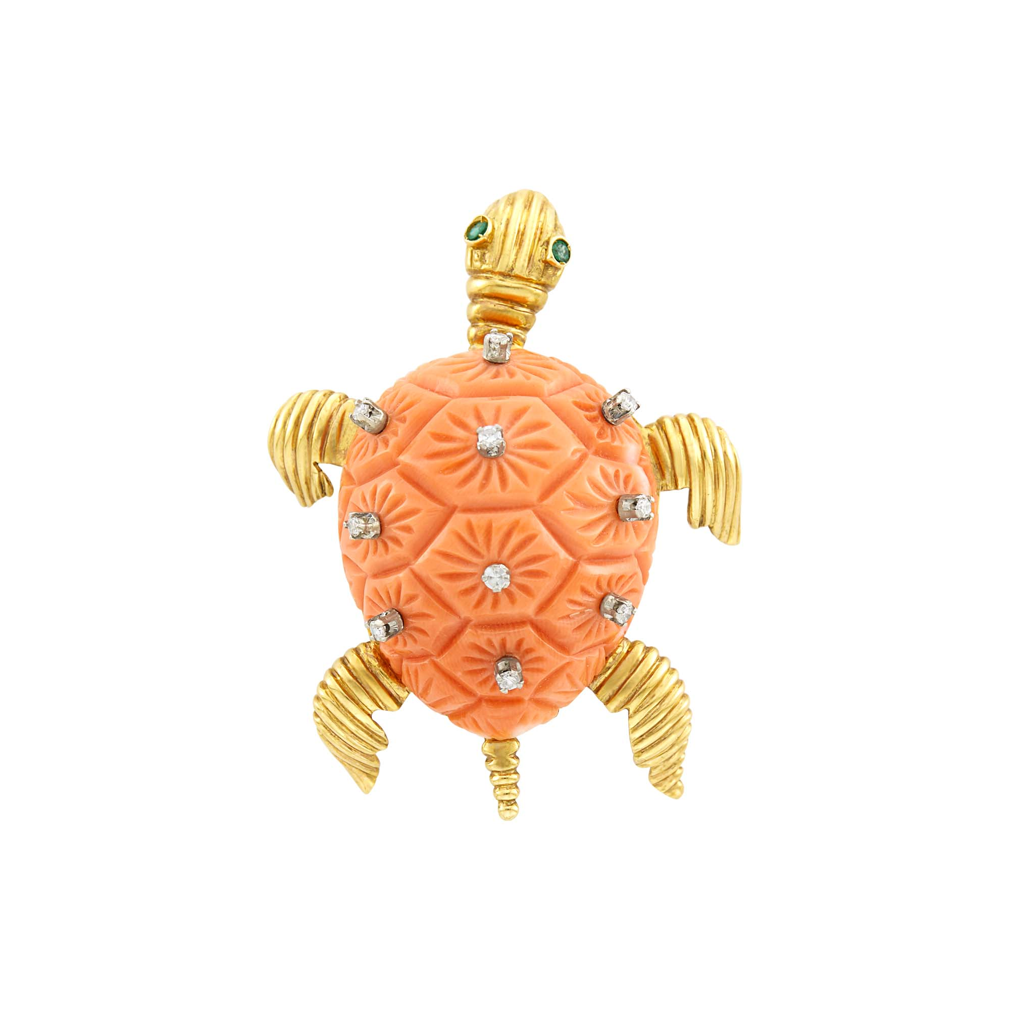 Lot image - Gold, Carved Coral, Diamond and Emerald Turtle Clip-Brooch