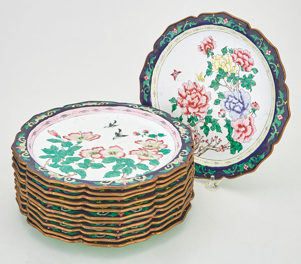 Lot image - Assembled Set of Twelve Chinese Enamel Plates