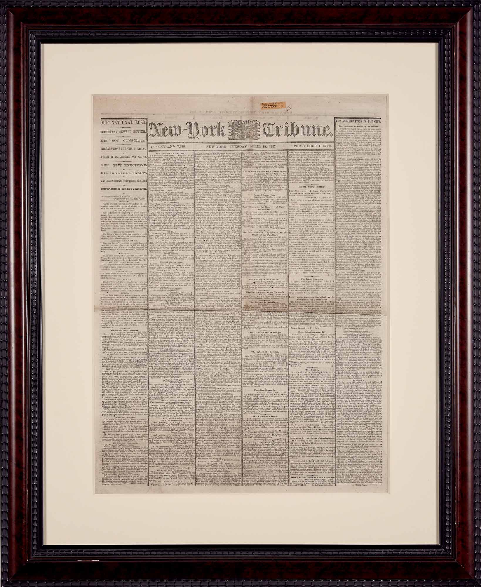 Lot image - [LINCOLN ASSASSINATION]  New York Tribune dated April 18th, 1865.