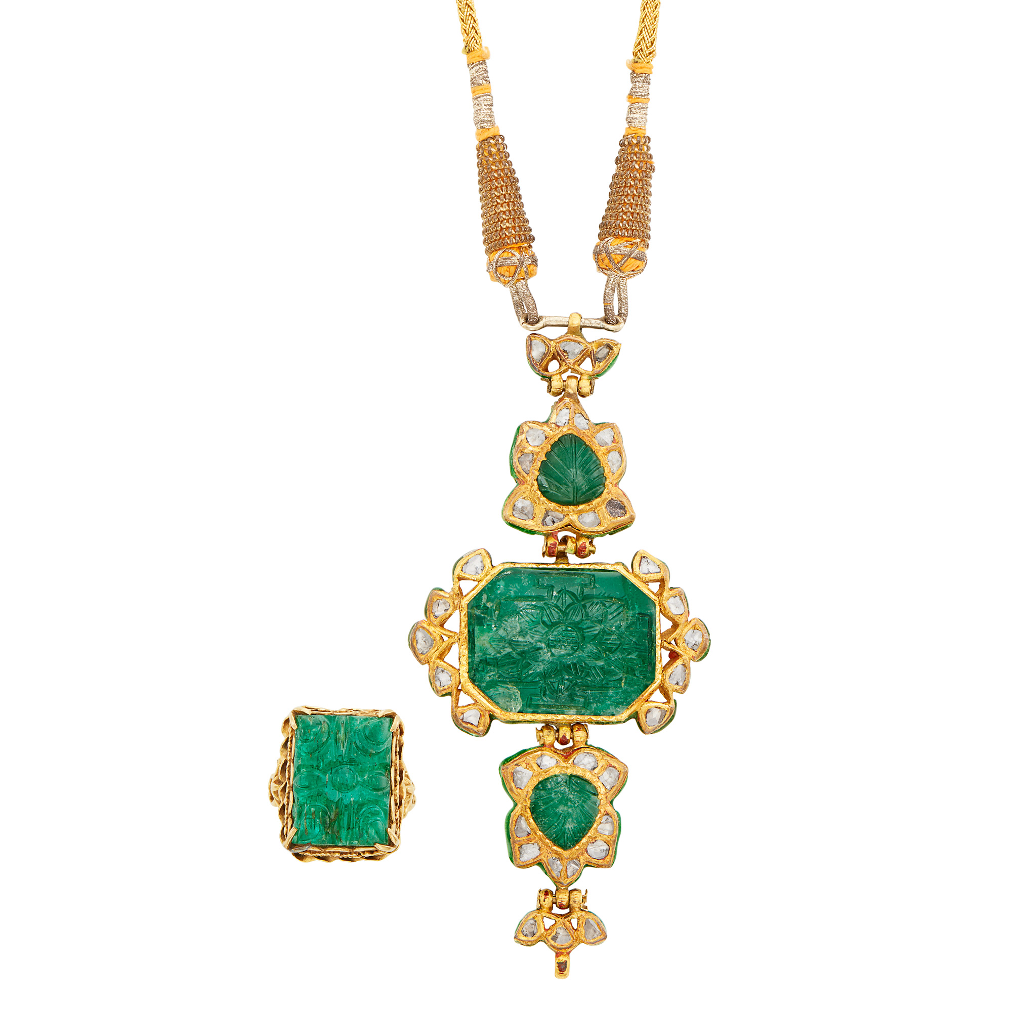 Lot image - Indian Gold, Jaipur Enamel, Carved Emerald and Foil-Backed Diamond Pendant on Cord Necklace and Ring