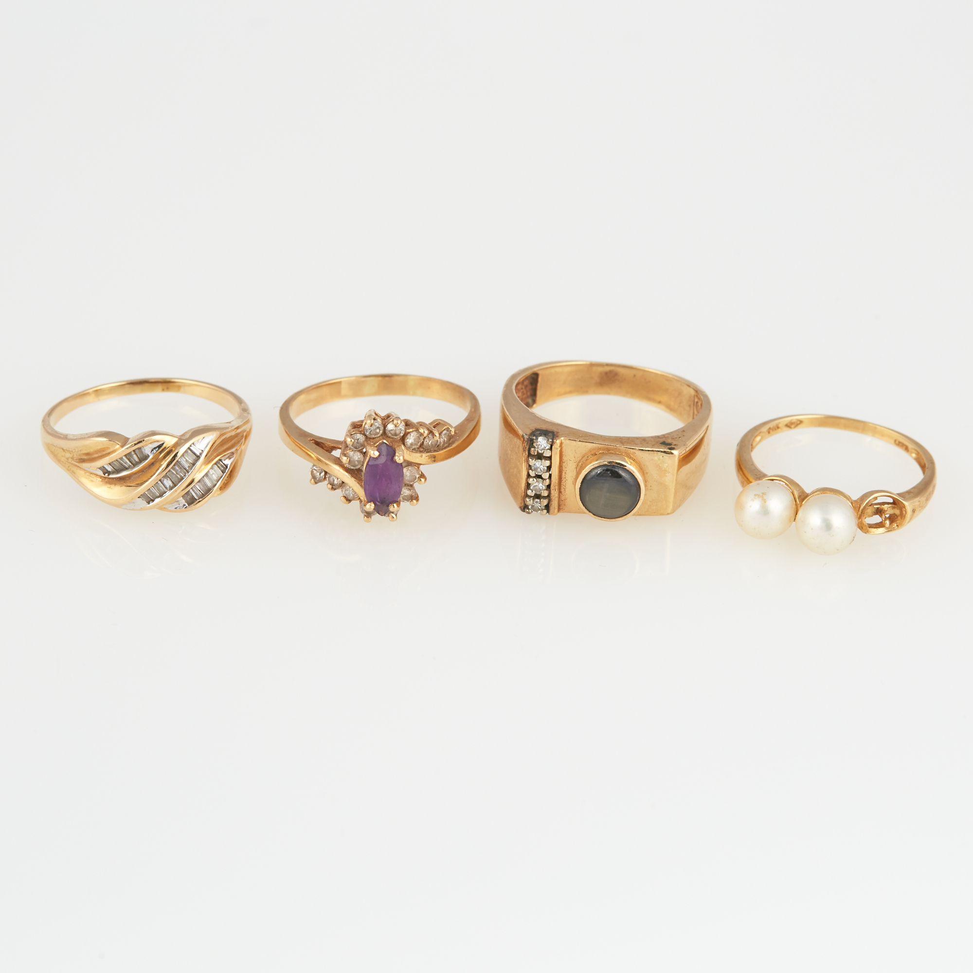 Lot image - Three Diamond and Stone Rings and Gold and Bead Ring, 14K 10 dwt. all, bead missing