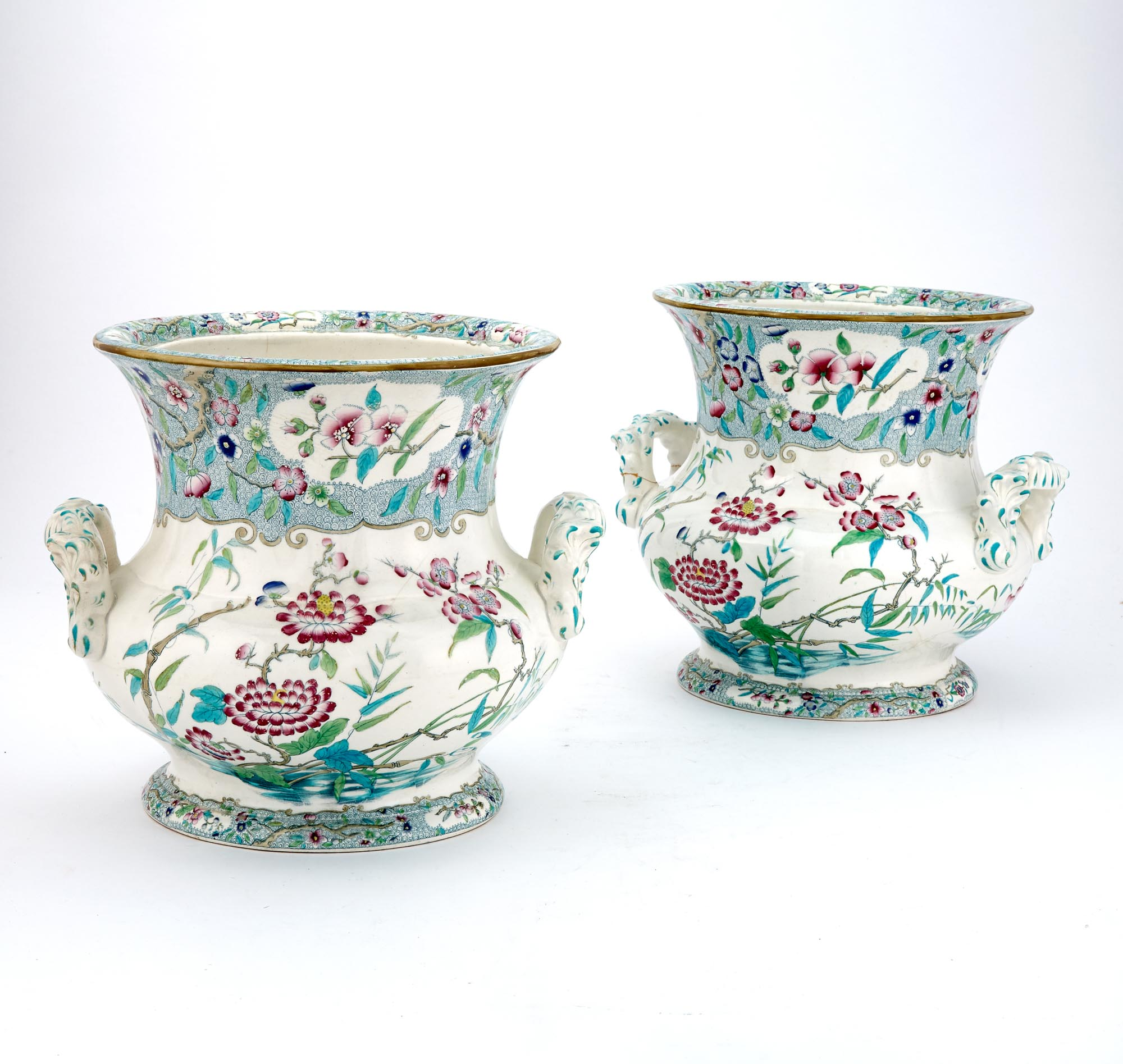 Lot image - Pair of Victorian Pottery Two-Handled Urns