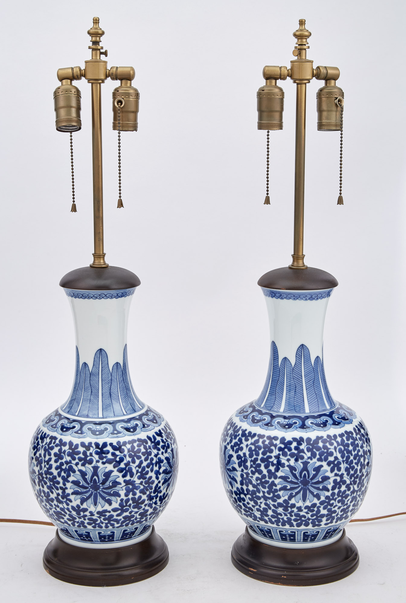 Lot image - Pair of Chinese Blue and White Porcelain Vases