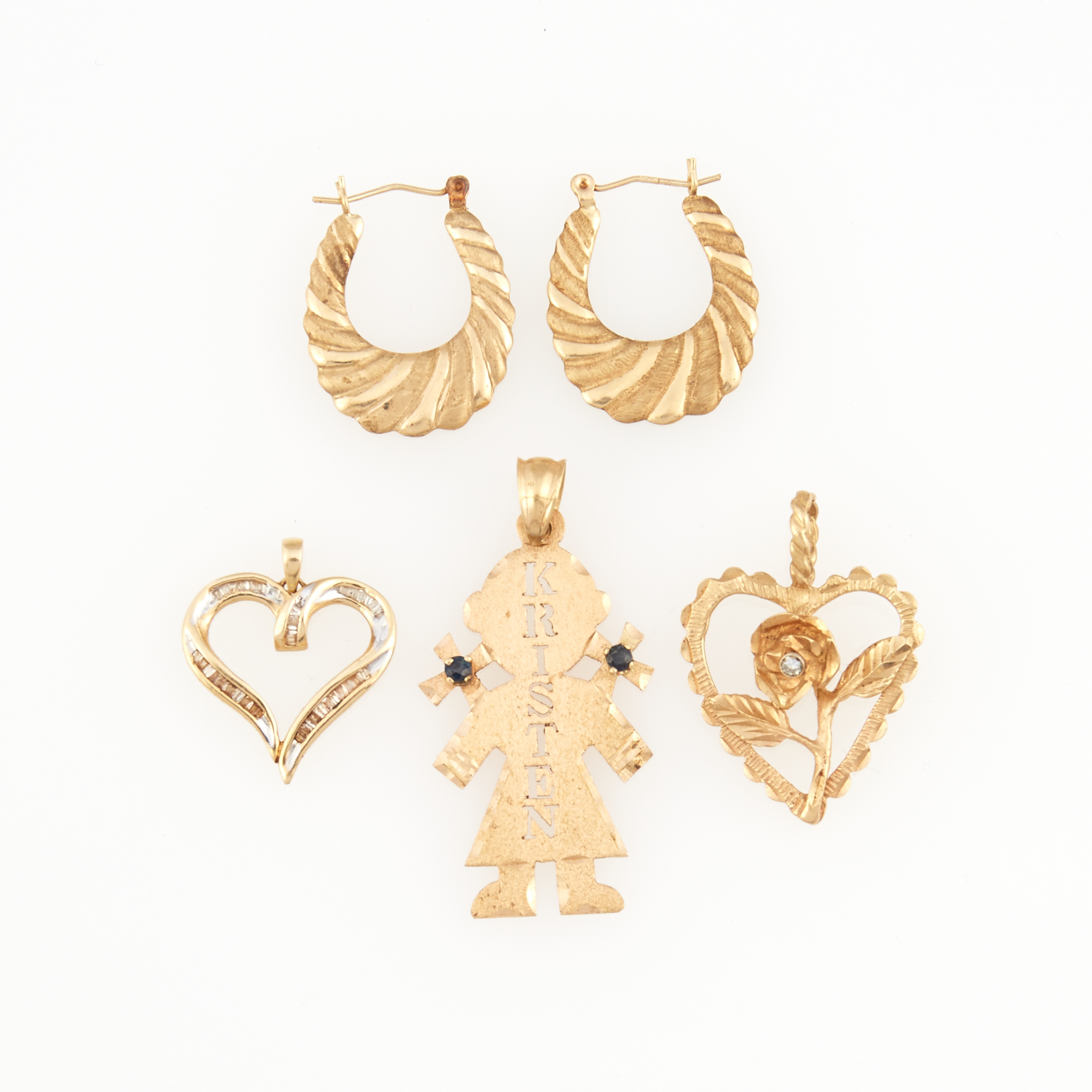 Lot image - Two Diamond Pendants, Gold and Stone Pendant and Two Earrings, 14K 5 dwt. all