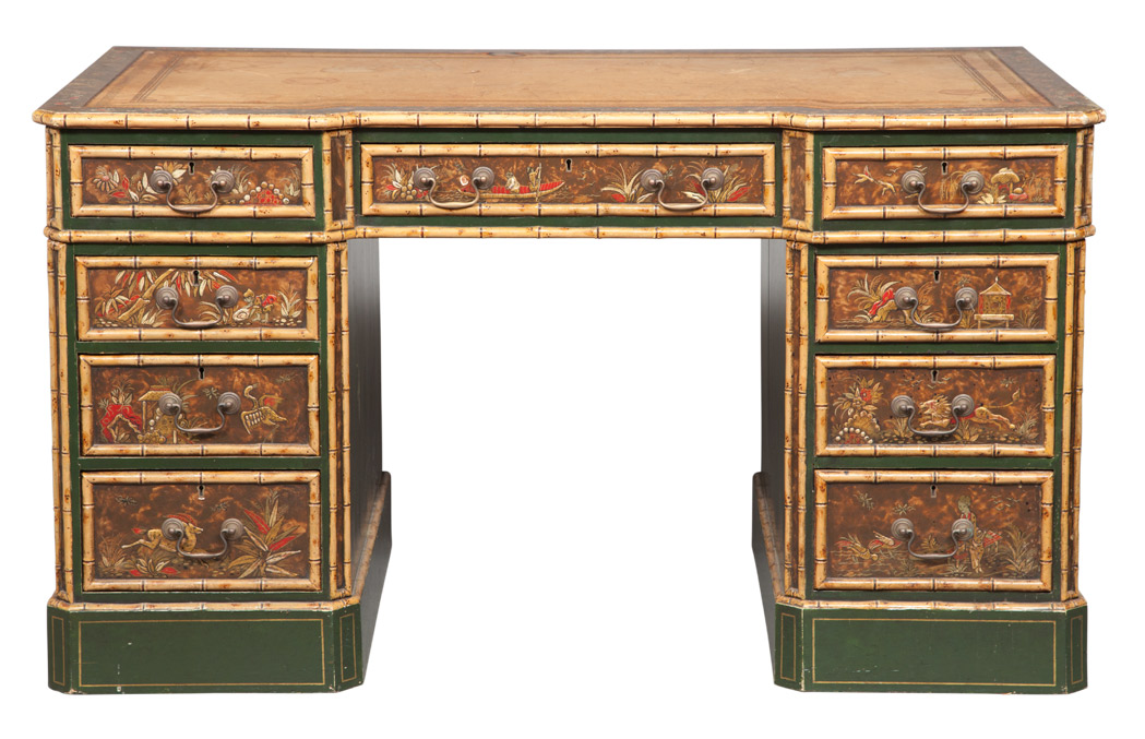 Lot image - Regency Style Green Japanned and Faux Bamboo Double-Pedestal Desk