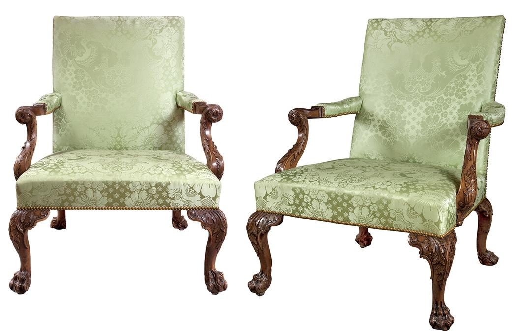 Lot image - Pair of George II Walnut Library Armchairs