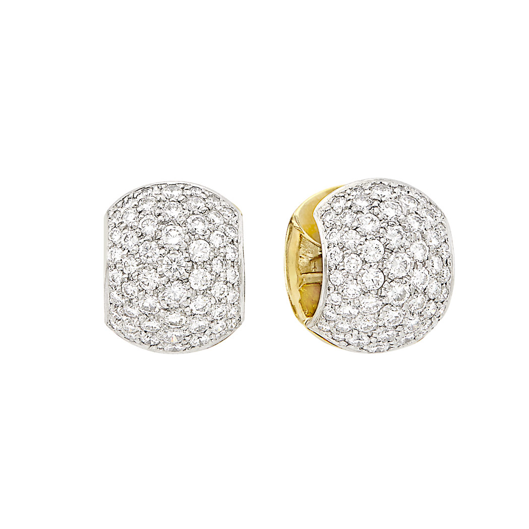 Lot image - Pair of Platinum, Gold and Diamond 'Huggie' Earrings