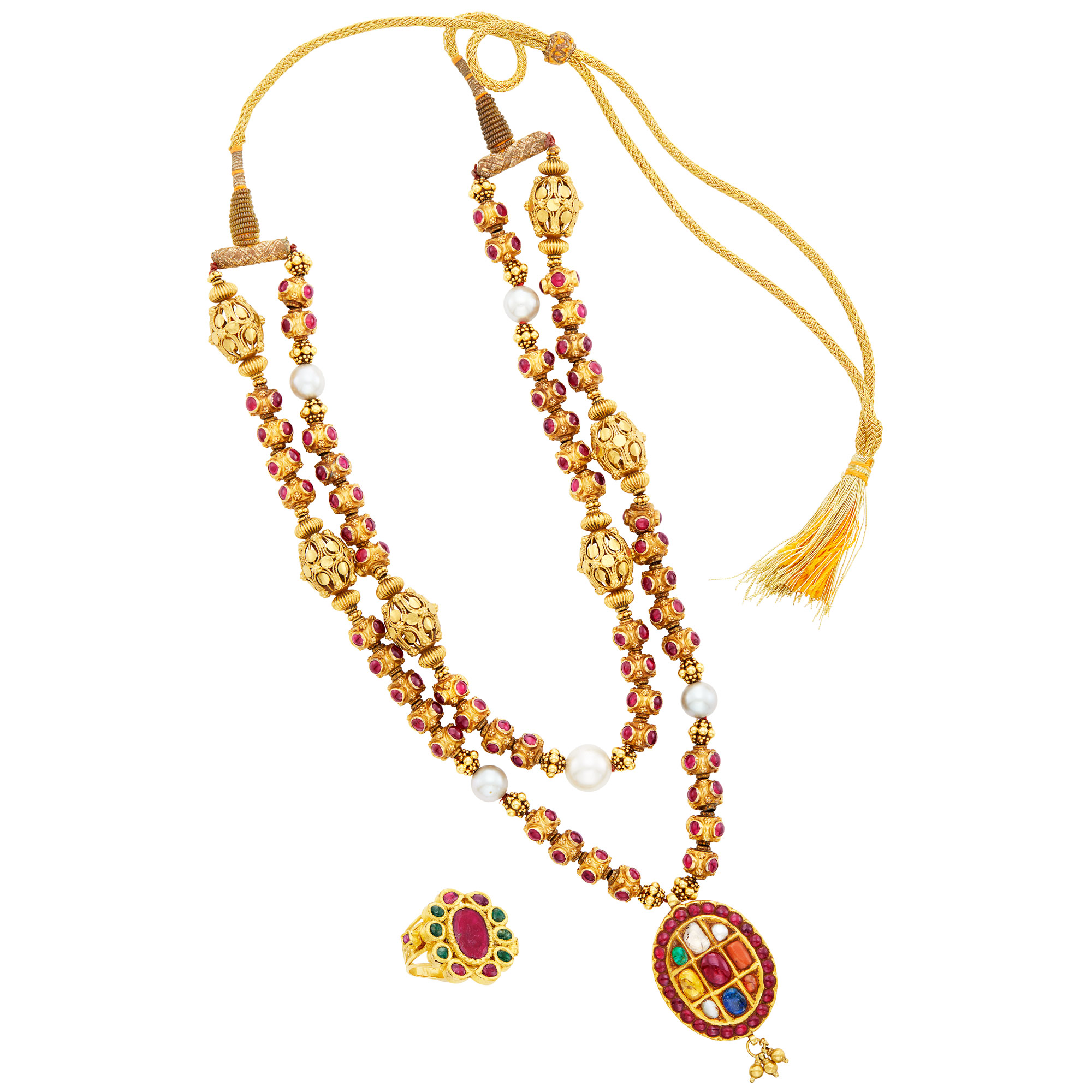 Lot image - Double Strand Indian Gold, Cabochon Ruby, Gem-Set and Cultured Pearl Pendant-Necklace on Cord and Ring