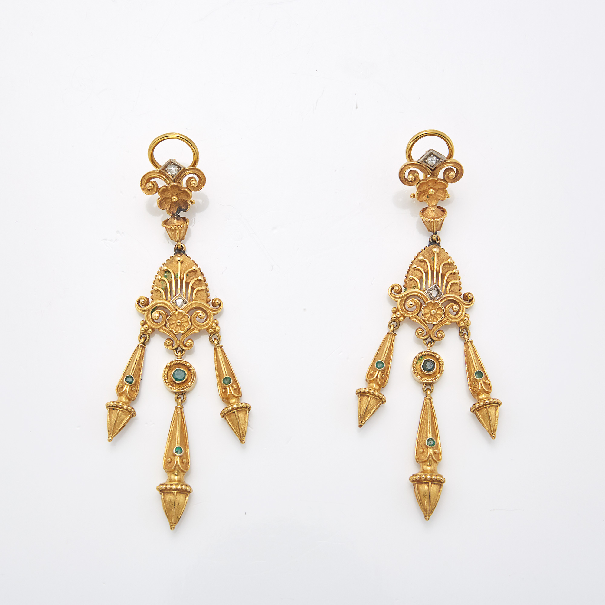 Lot image - Pair of Gold, Emerald and Diamond Fringe Pendant-Earrings