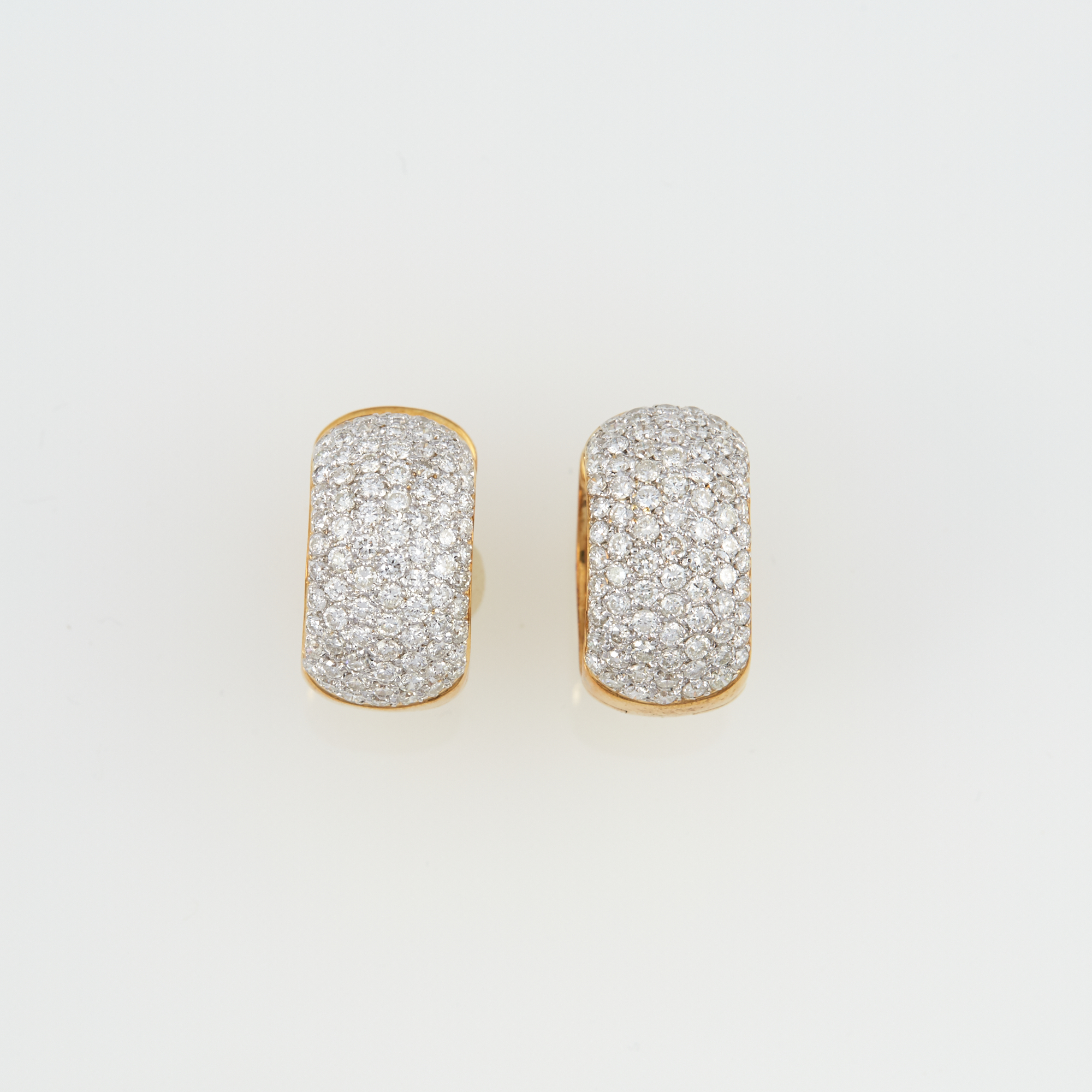 Lot image - Two Diamond Earrings, 170 diamonds about 3.50 cts., 14K 9 dwt.