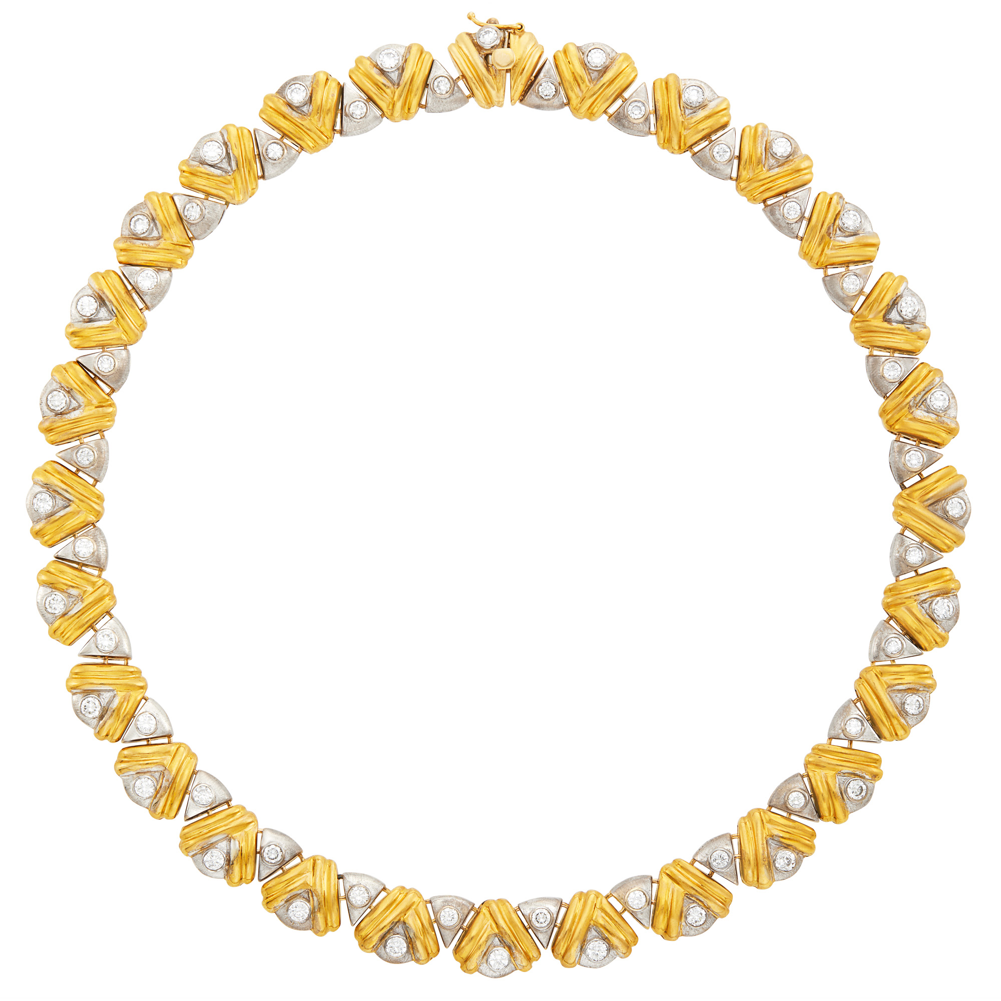 Lot image - Two-Color Gold and Diamond Necklace