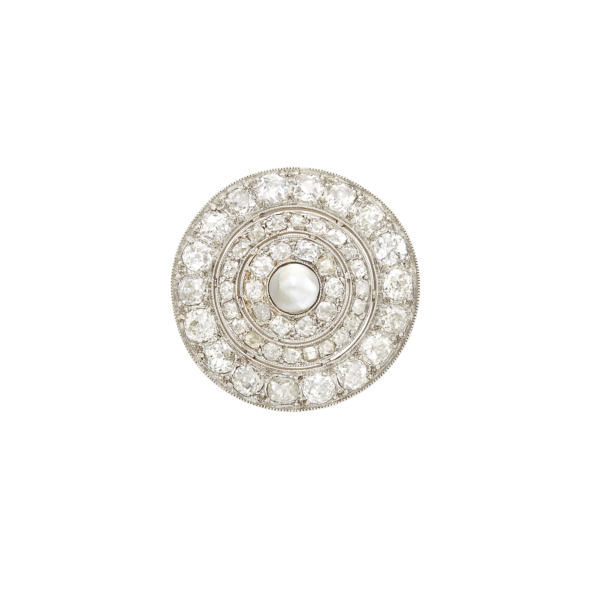 Lot image - Belle Époque Platinum, Diamond and Button Pearl Brooch