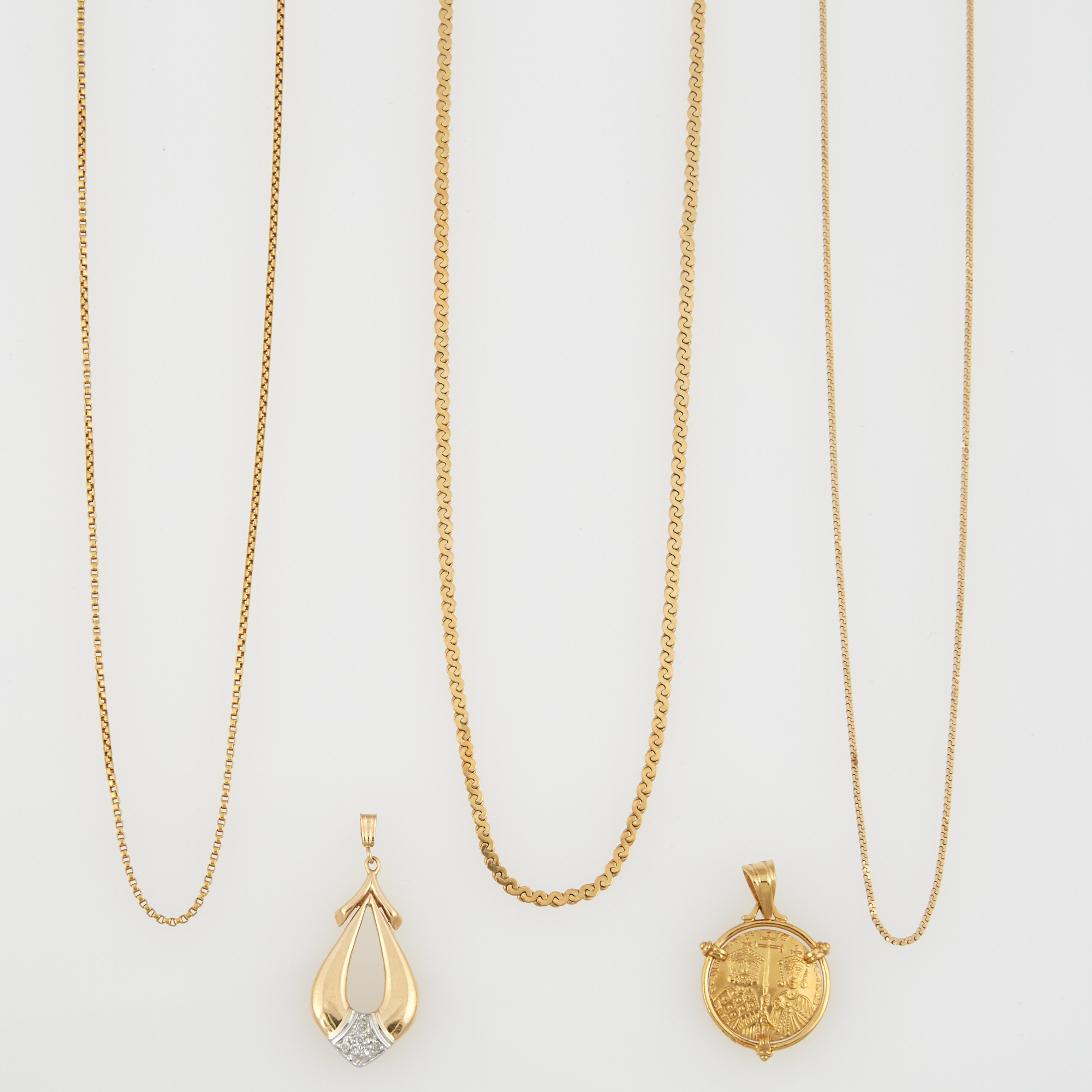 Lot image - Diamond Pendant, Gold Pendant and Three Neck Chains, 18K and 14K 13 dwt. all