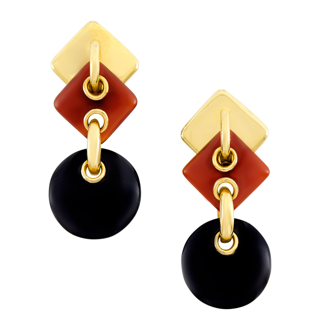 Lot image - Pair of Gold, Carnelian and Black Onyx Pendant-Earclips, Aldo Cipullo