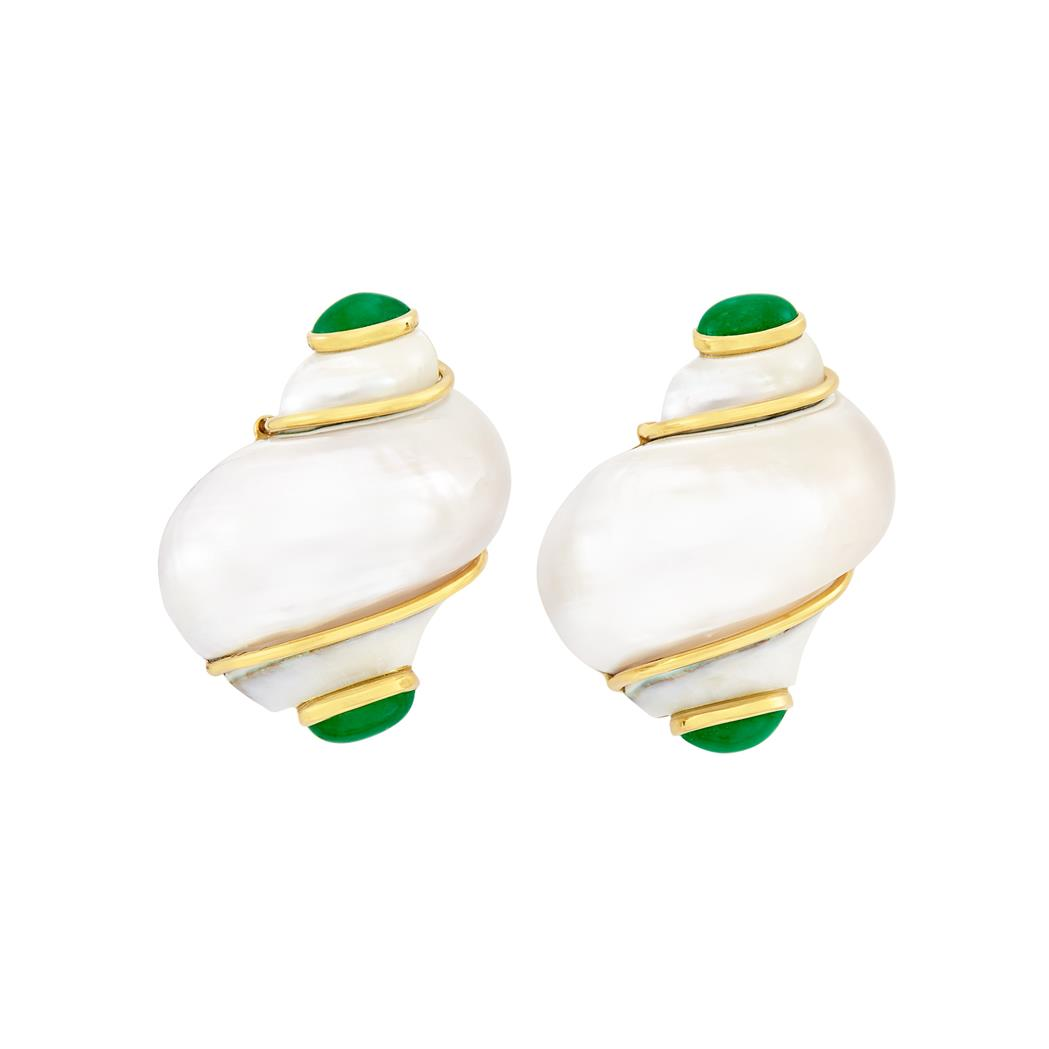 Lot image - Pair of Gold, Shell and Cabochon Emerald Earclips, Seaman Schepps